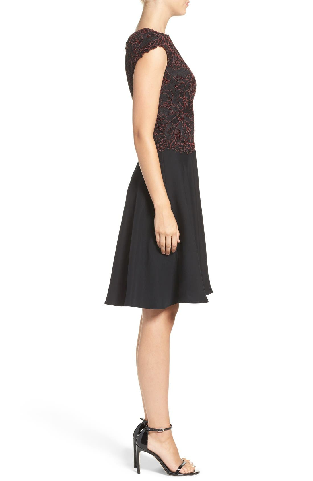 Embroidered Lace Fit & Flare Dress,                             Alternate thumbnail 7, color,