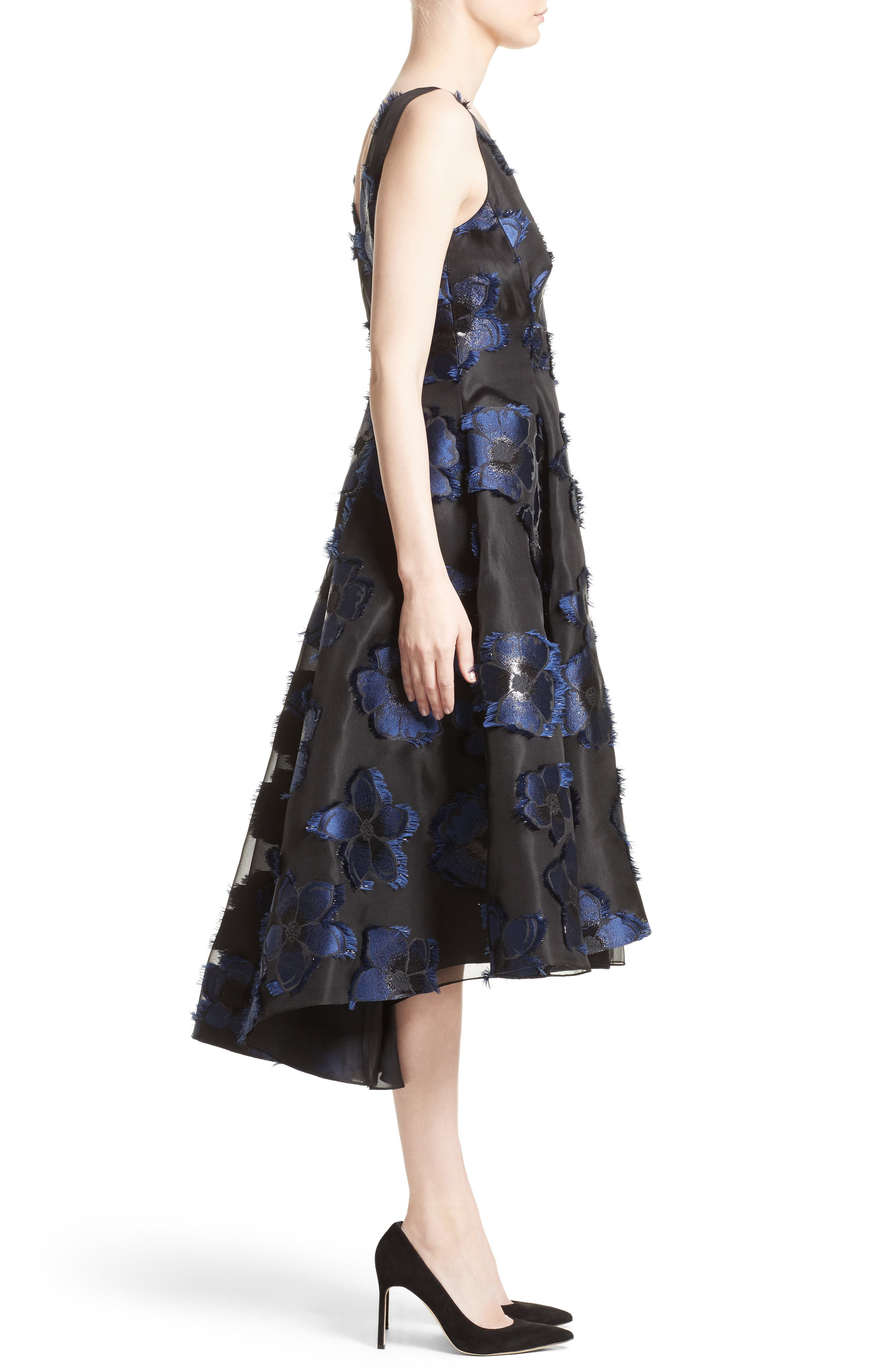 High/Low Metallic Fil Coupé Dress,                             Alternate thumbnail 3, color,                             410