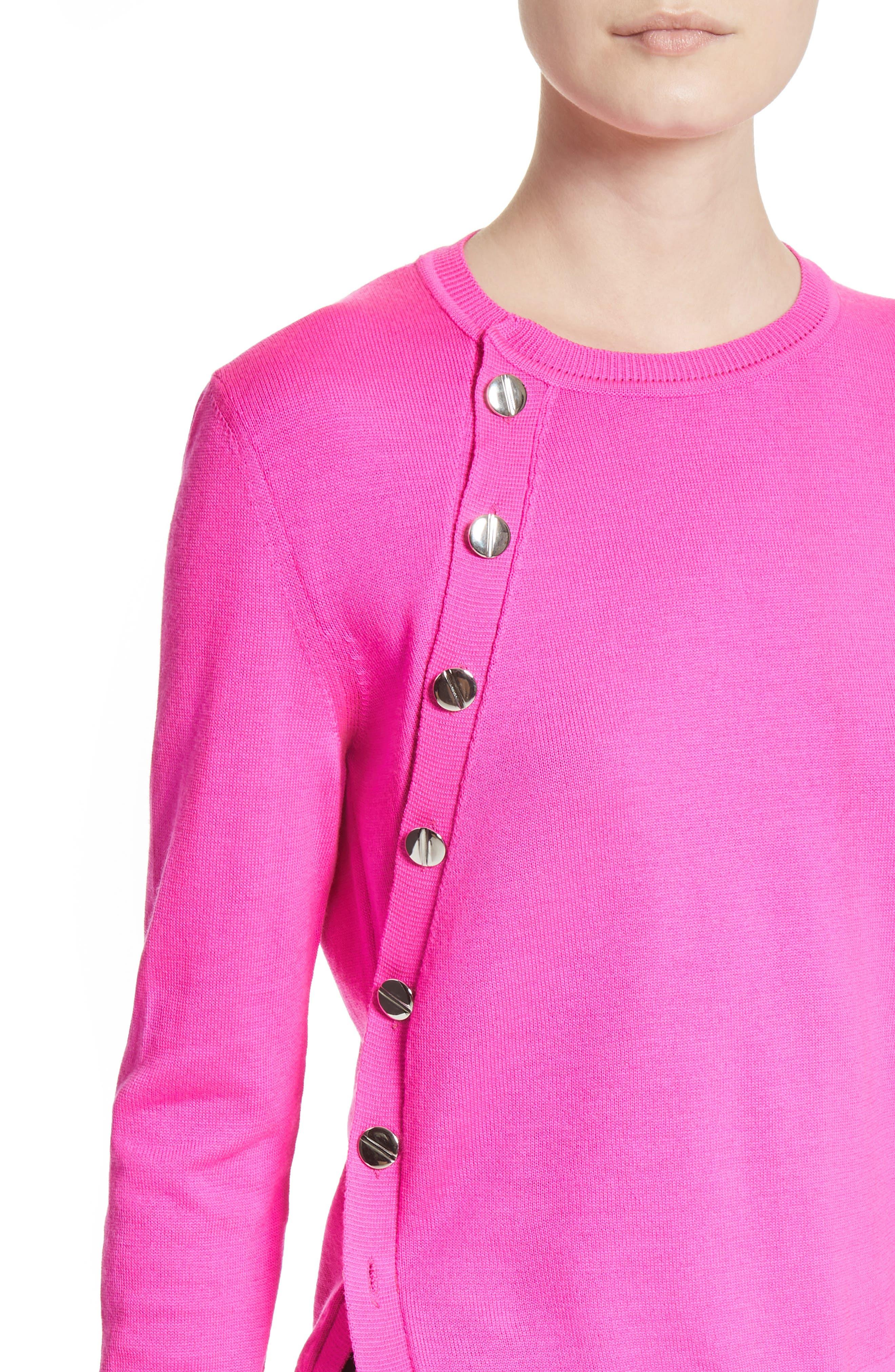 Button Detail Merino Wool Crop Sweater,                             Alternate thumbnail 4, color,                             650