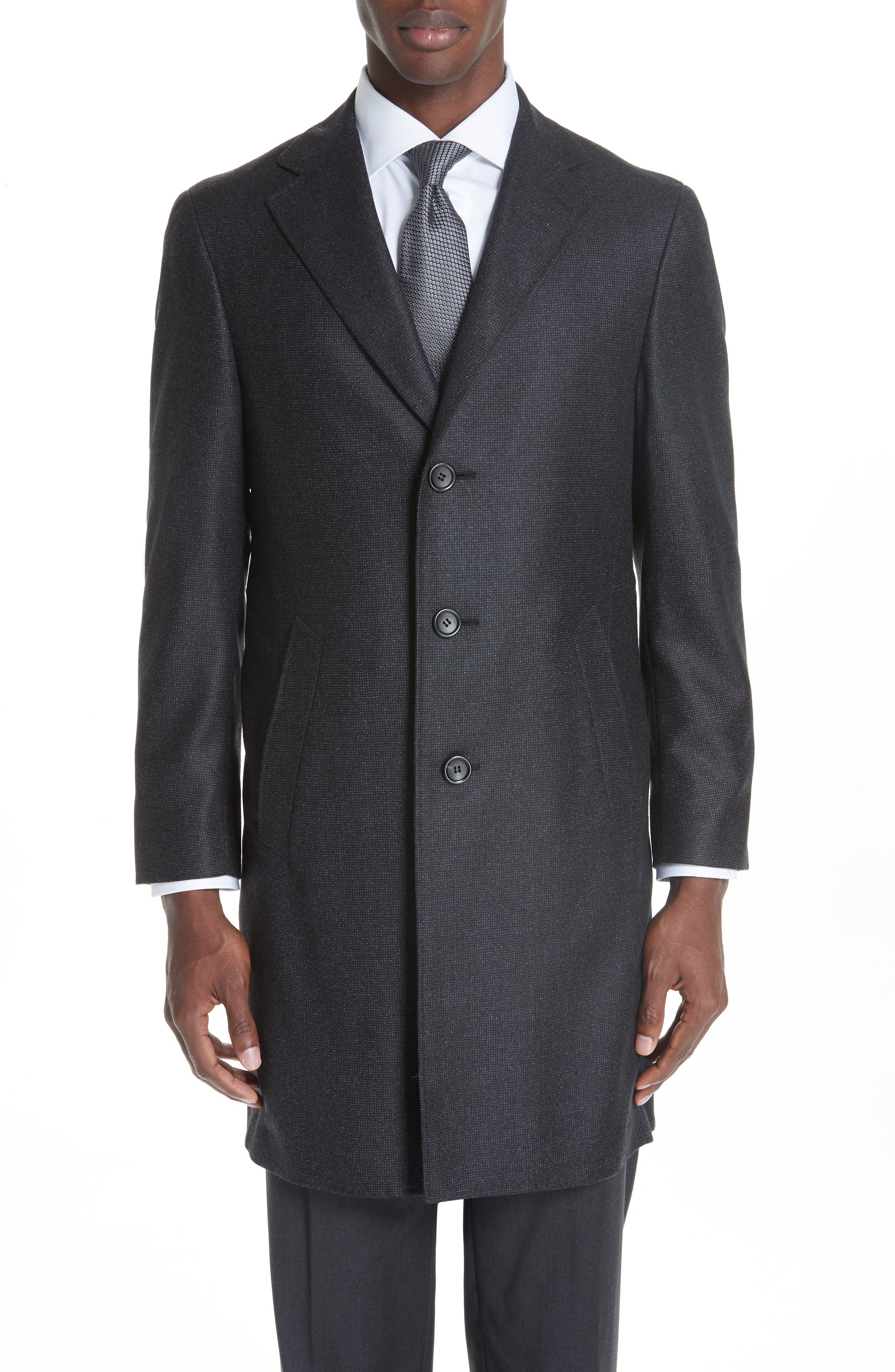 Solid Wool Top Coat,                         Main,                         color, CHARCOAL