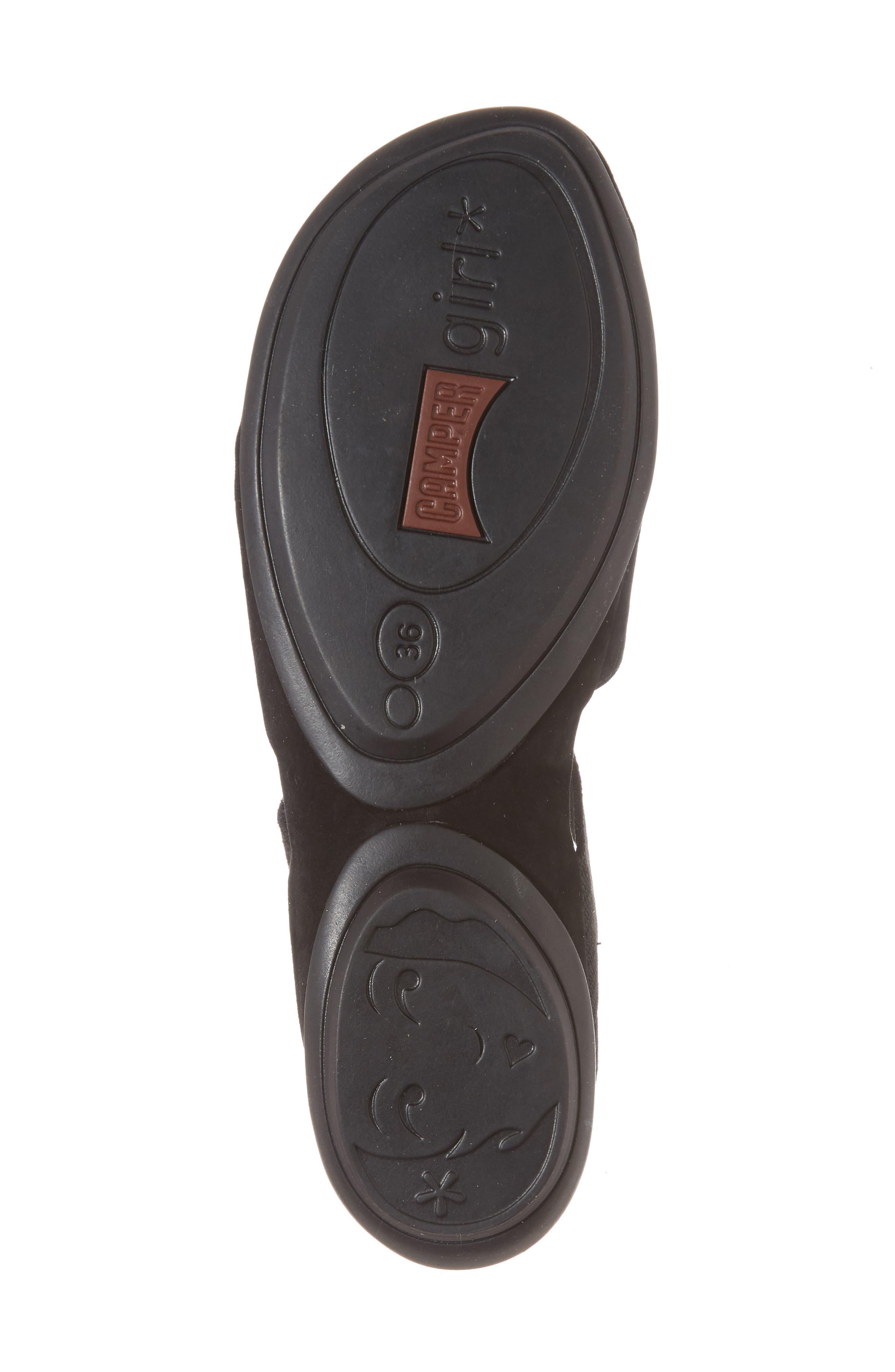 Right Nina Flat Cross Strap Sandal,                             Alternate thumbnail 6, color,                             BLACK LEATHER