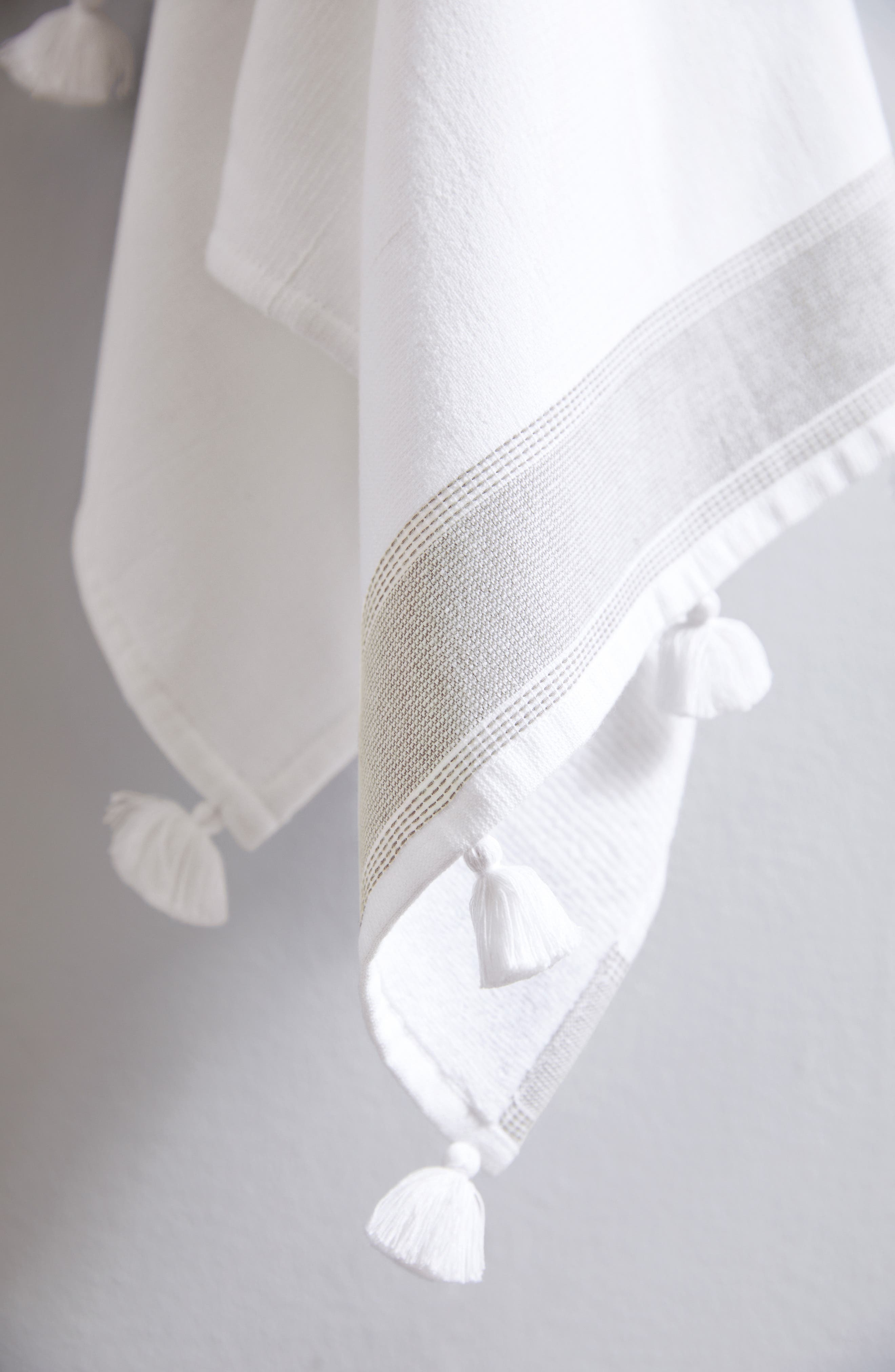 THE WHITE COMPANY,                             St. Ives Hammam Bath Towel,                             Alternate thumbnail 2, color,                             WHITE/ GREY