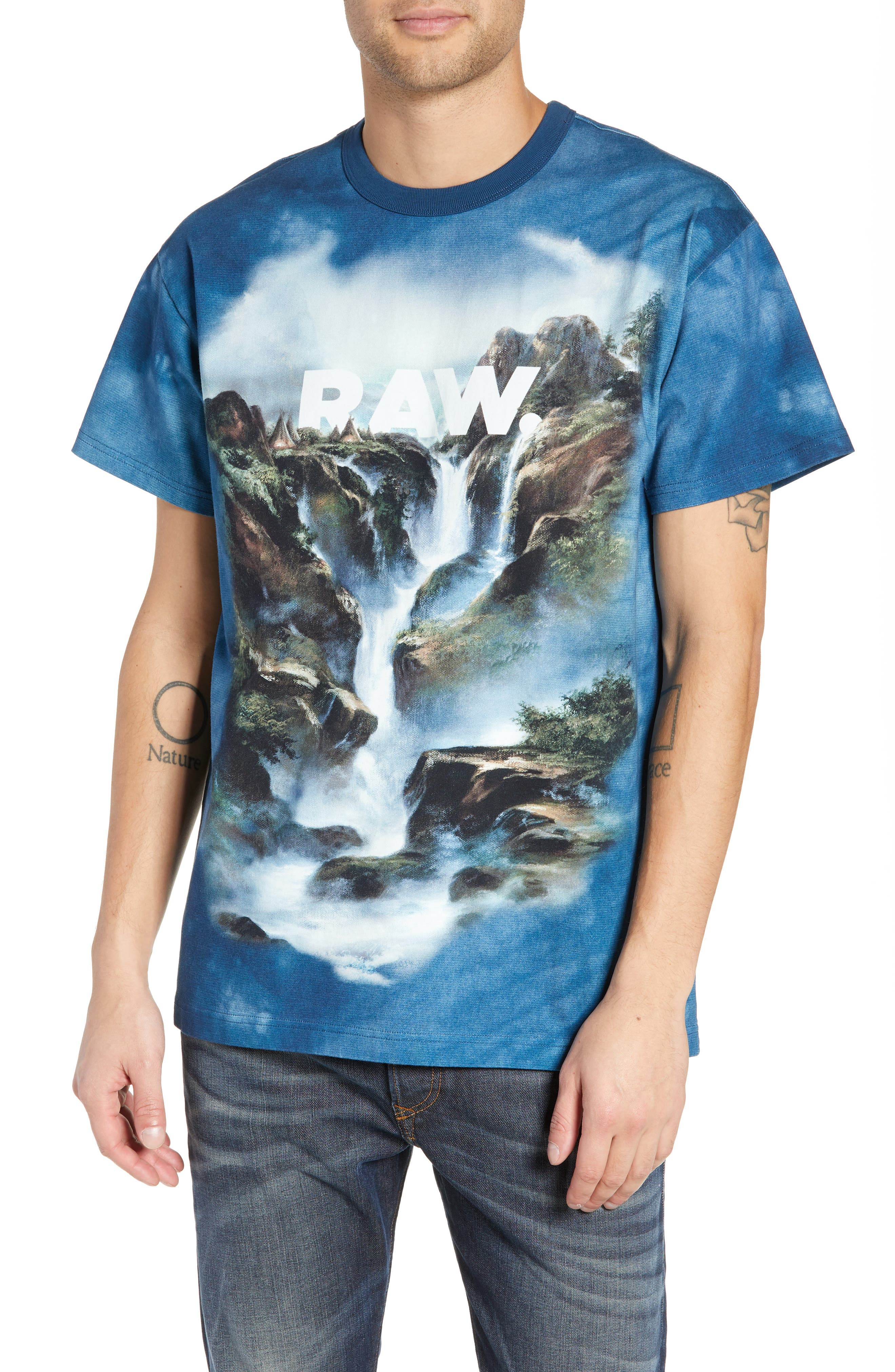 G-STAR RAW G-Star Cyrer Waterfall Loose T-Shirt in Teal Blue