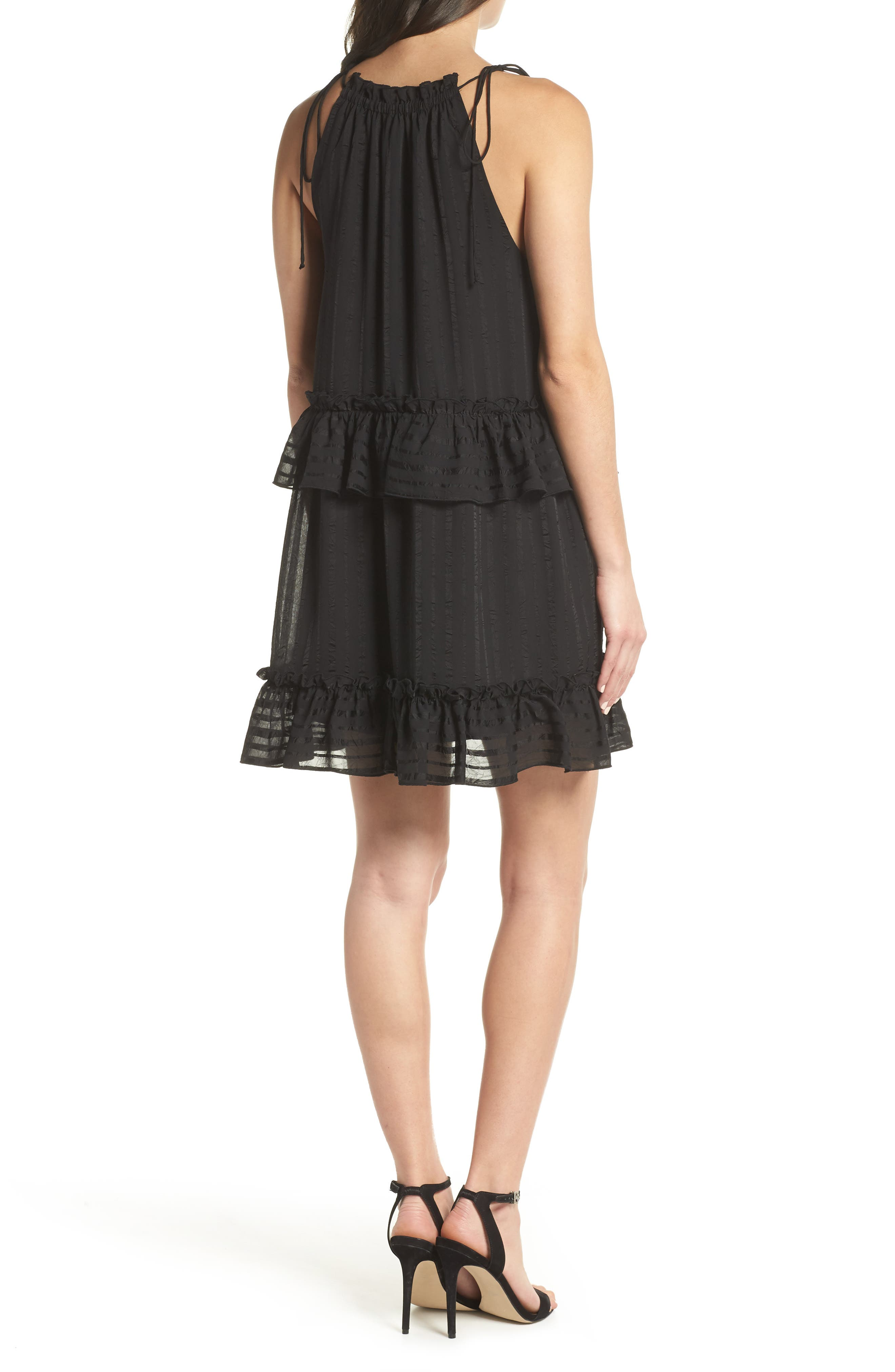 Lila Stripe Chiffon Halter Dress,                             Alternate thumbnail 2, color,                             001