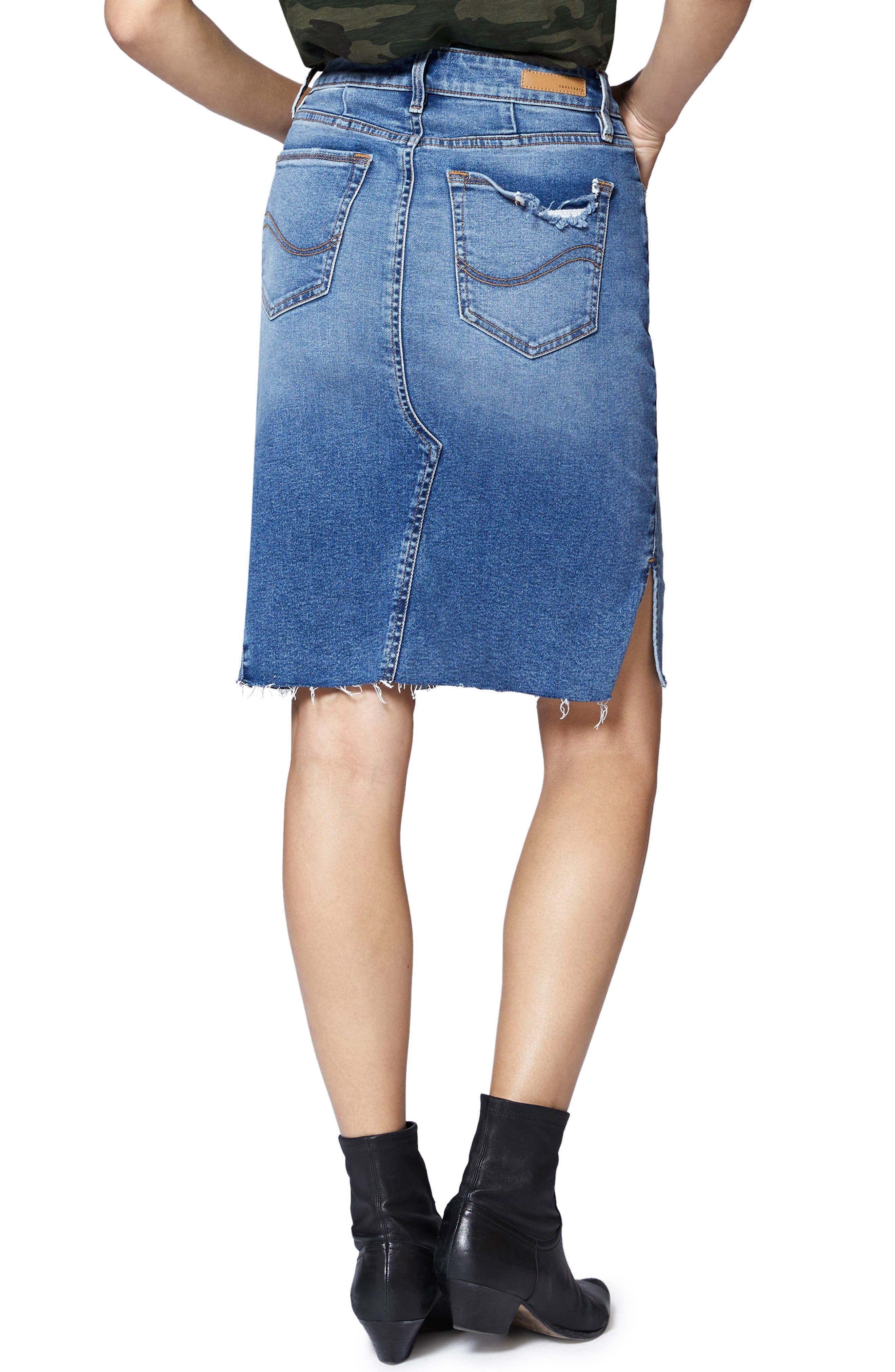 Sia A-Line Denim Skirt,                             Alternate thumbnail 2, color,                             FLAT IRON RIGID