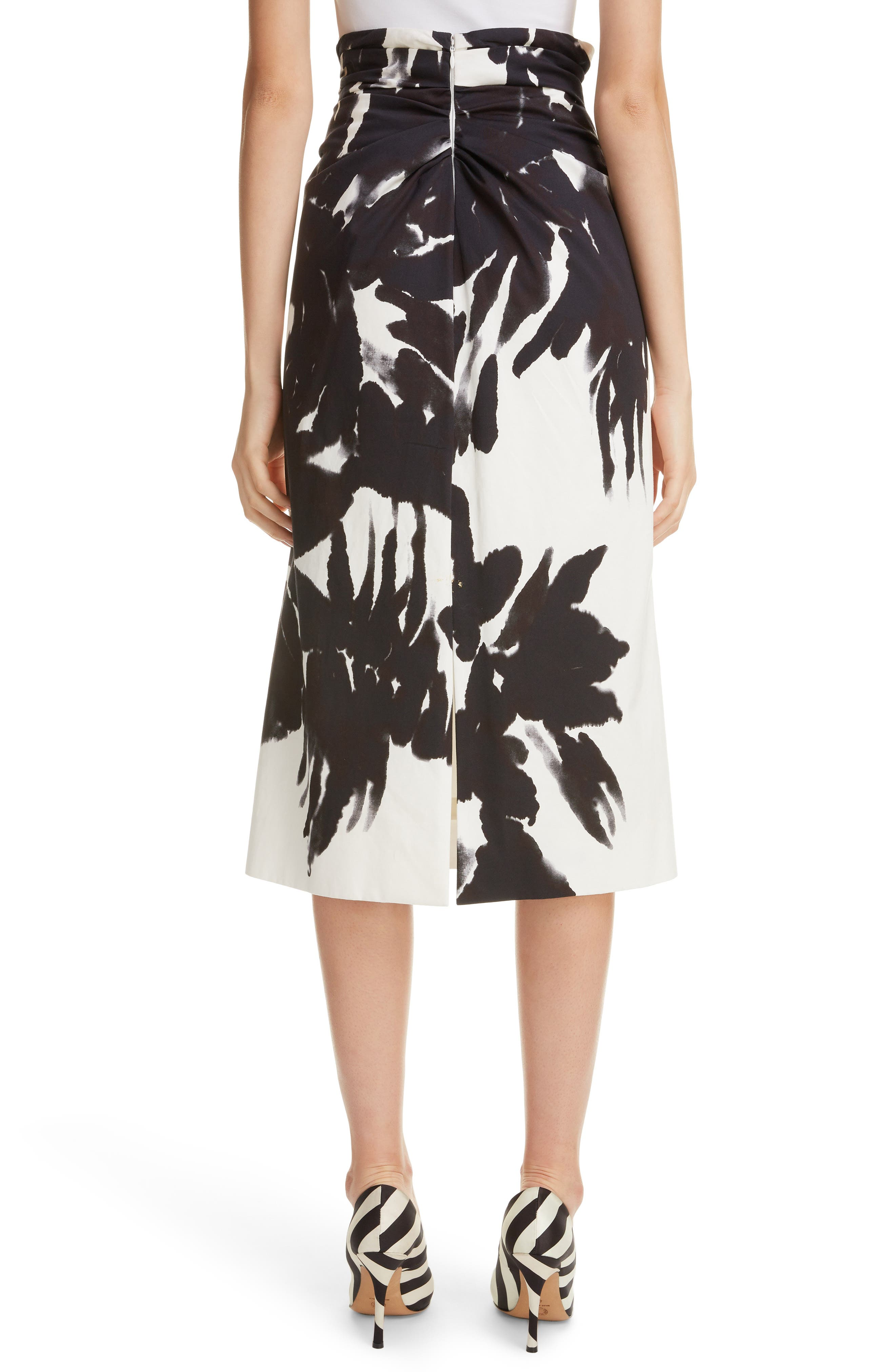 Brush Print Cotton Skirt,                             Alternate thumbnail 2, color,                             900-BLACK