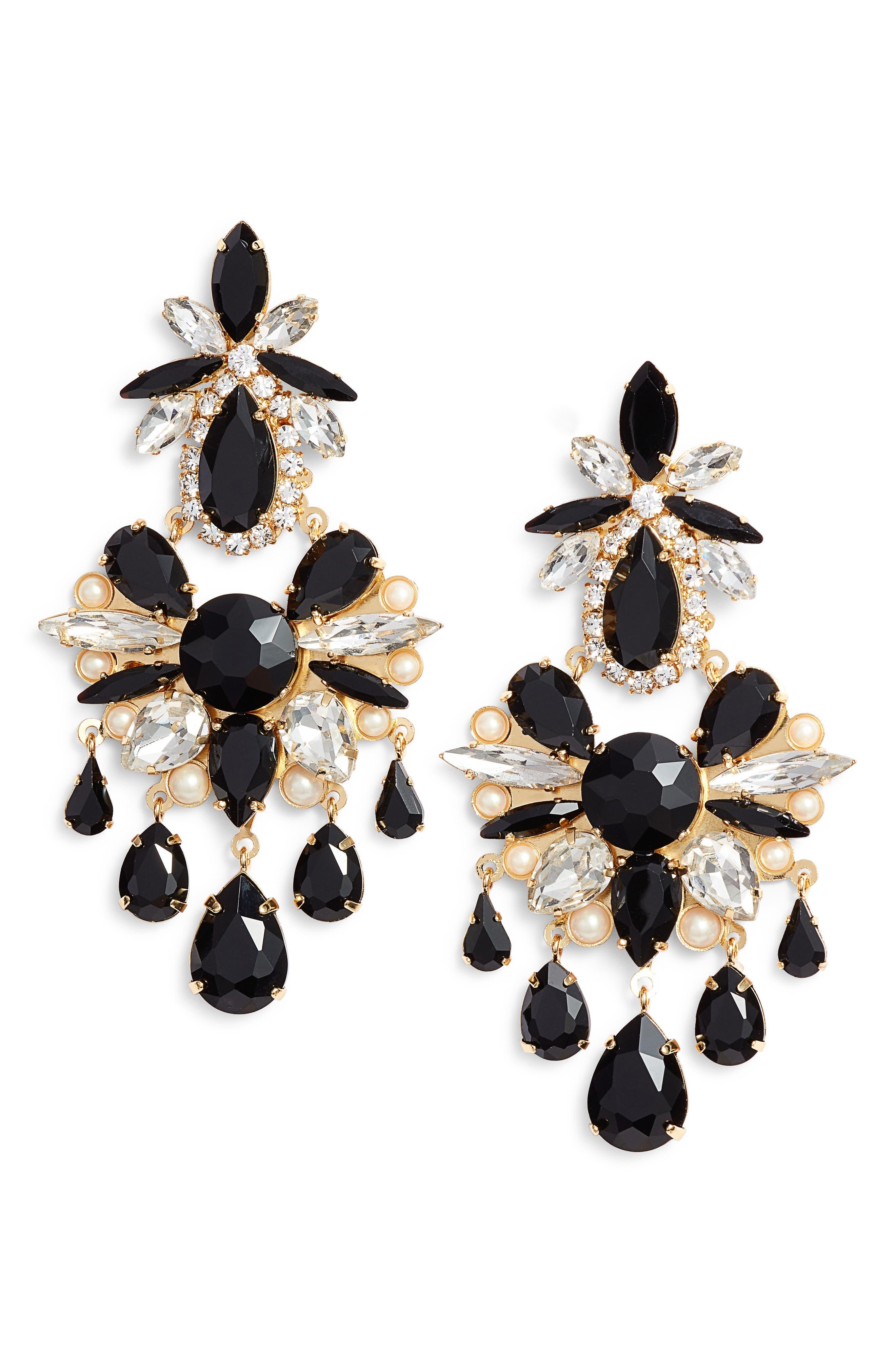 crystal chandelier earrings,                             Main thumbnail 1, color,                             BLACK MULTI