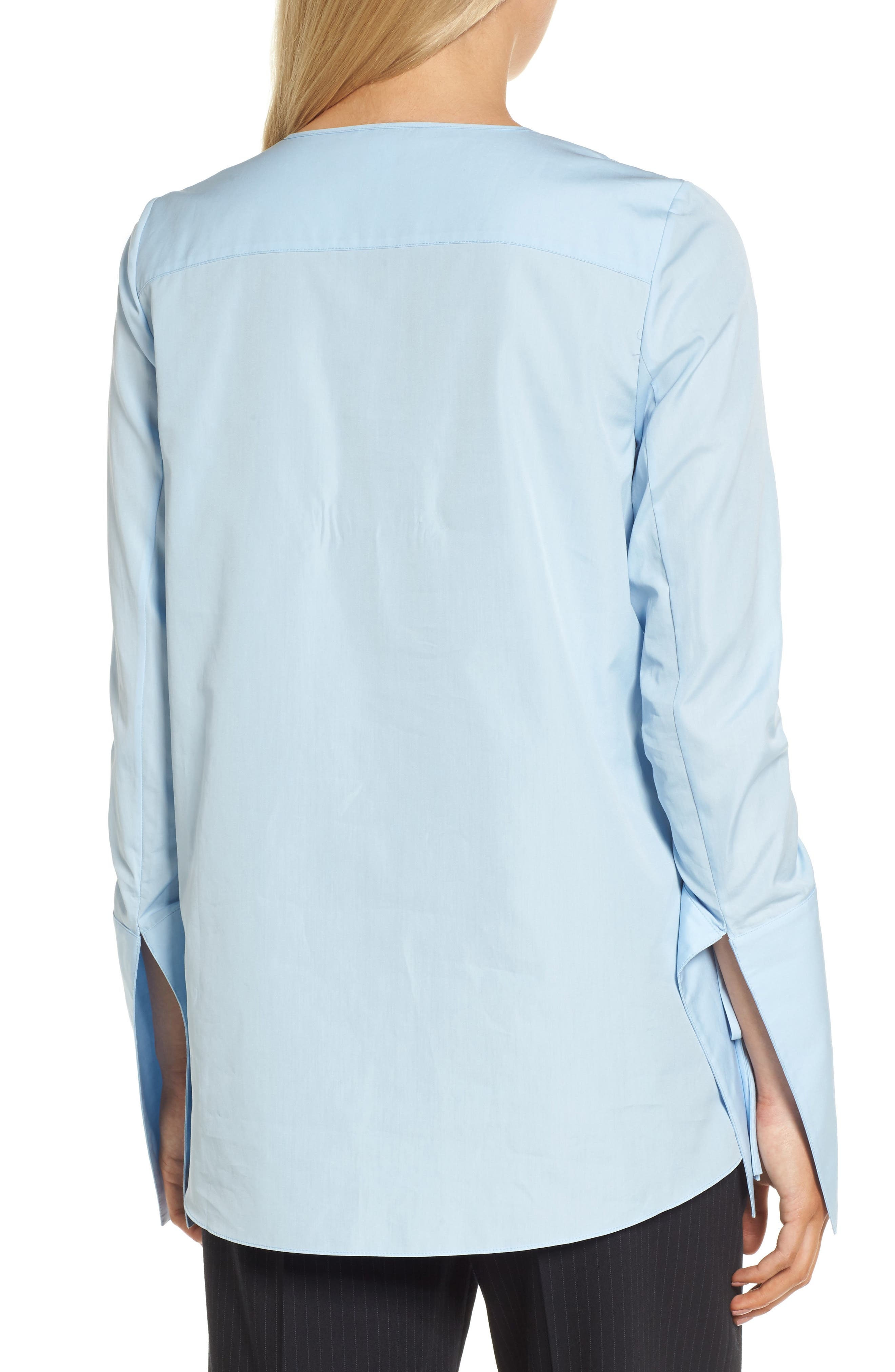 Ruched Sleeve Poplin Blouse,                             Alternate thumbnail 2, color,