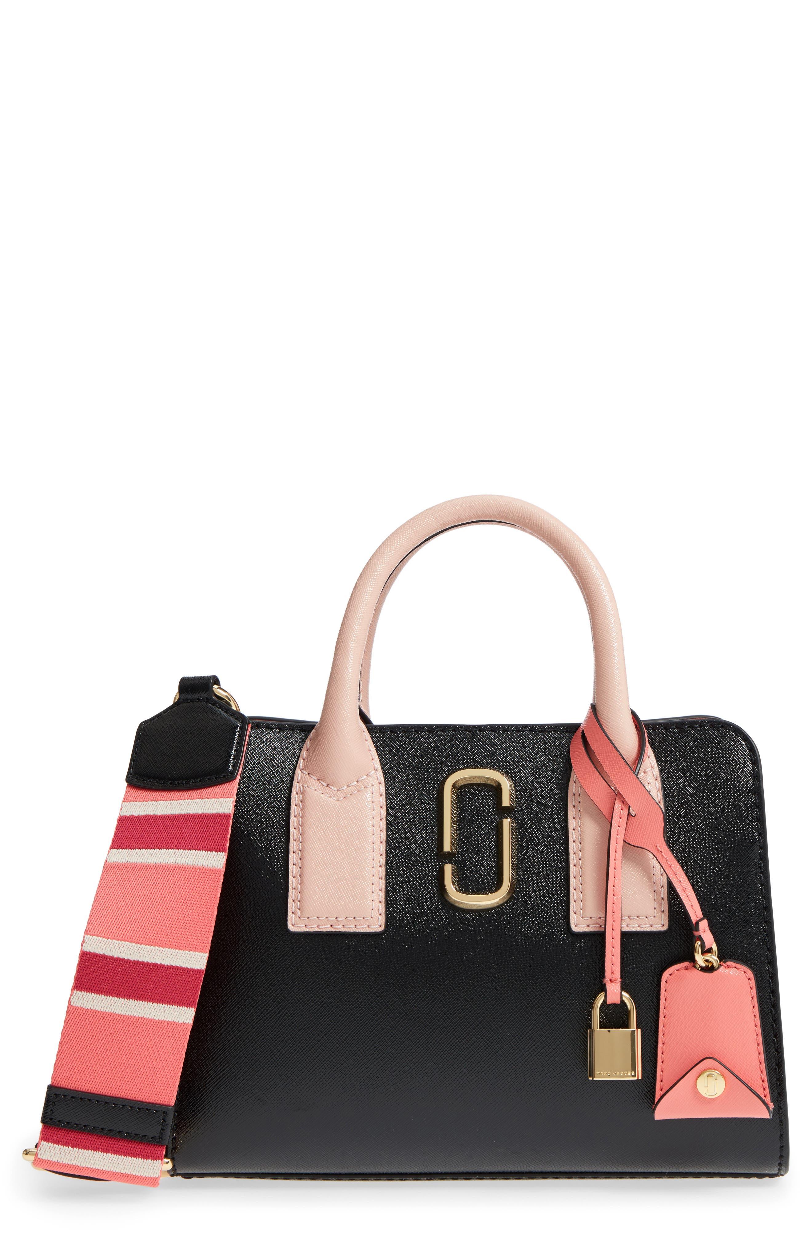 Big Shot Color Block Saffiano Leather Satchel in Black/Gazelle