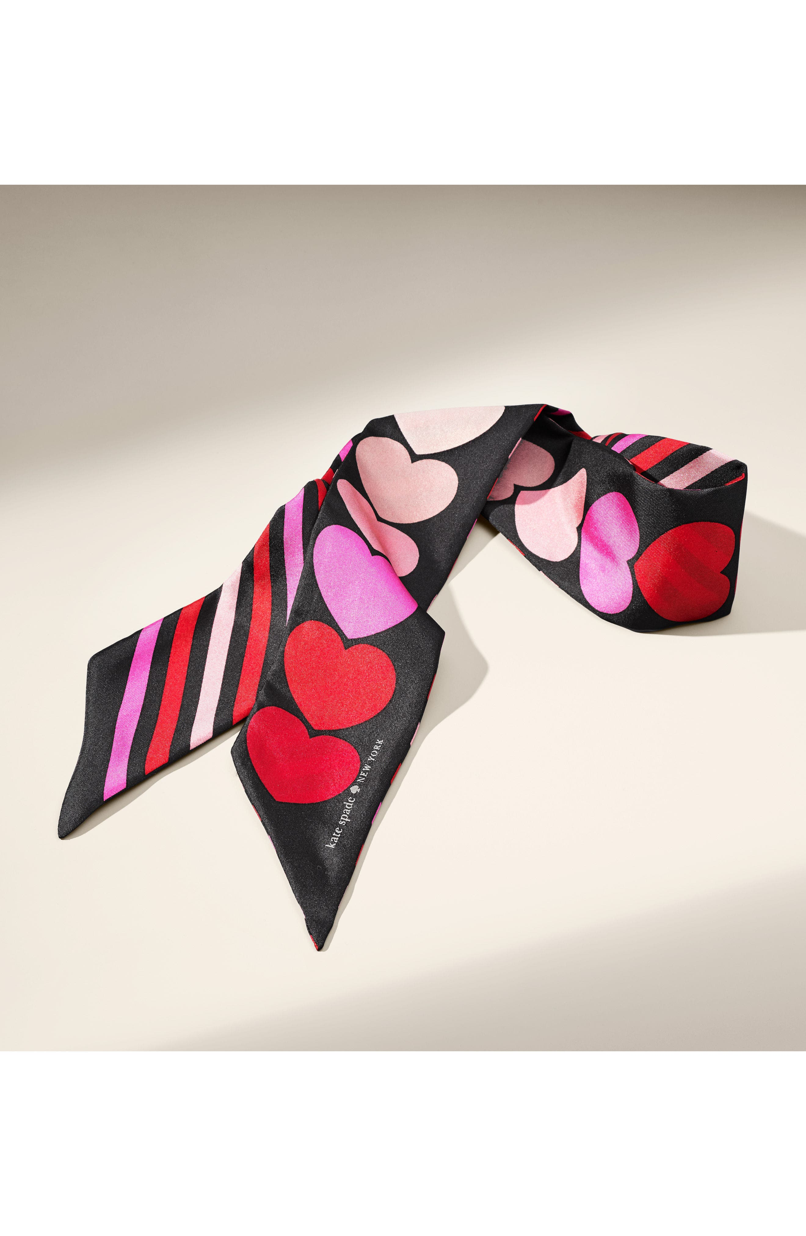 heart stripe silk skinny scarf,                             Alternate thumbnail 5, color,