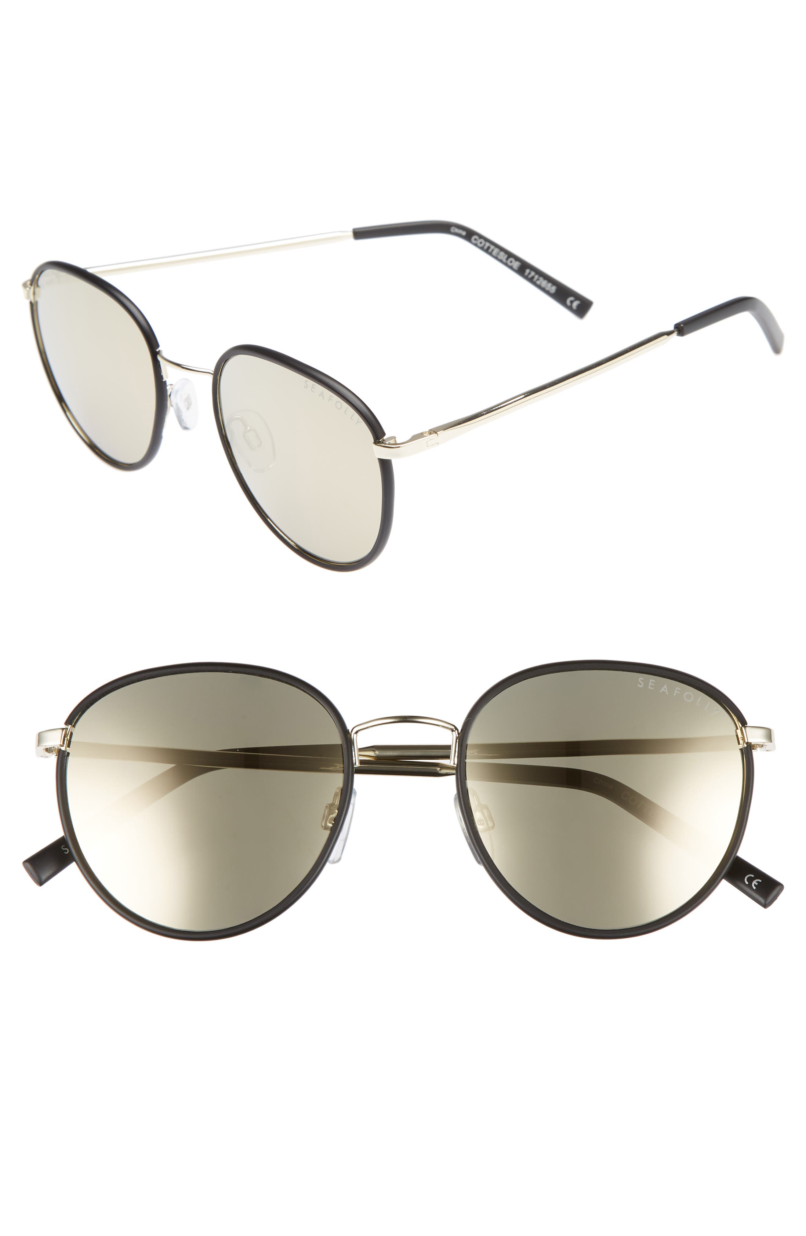 Cottesloe 51mm Round Lens Sunglasses,                         Main,                         color, 001