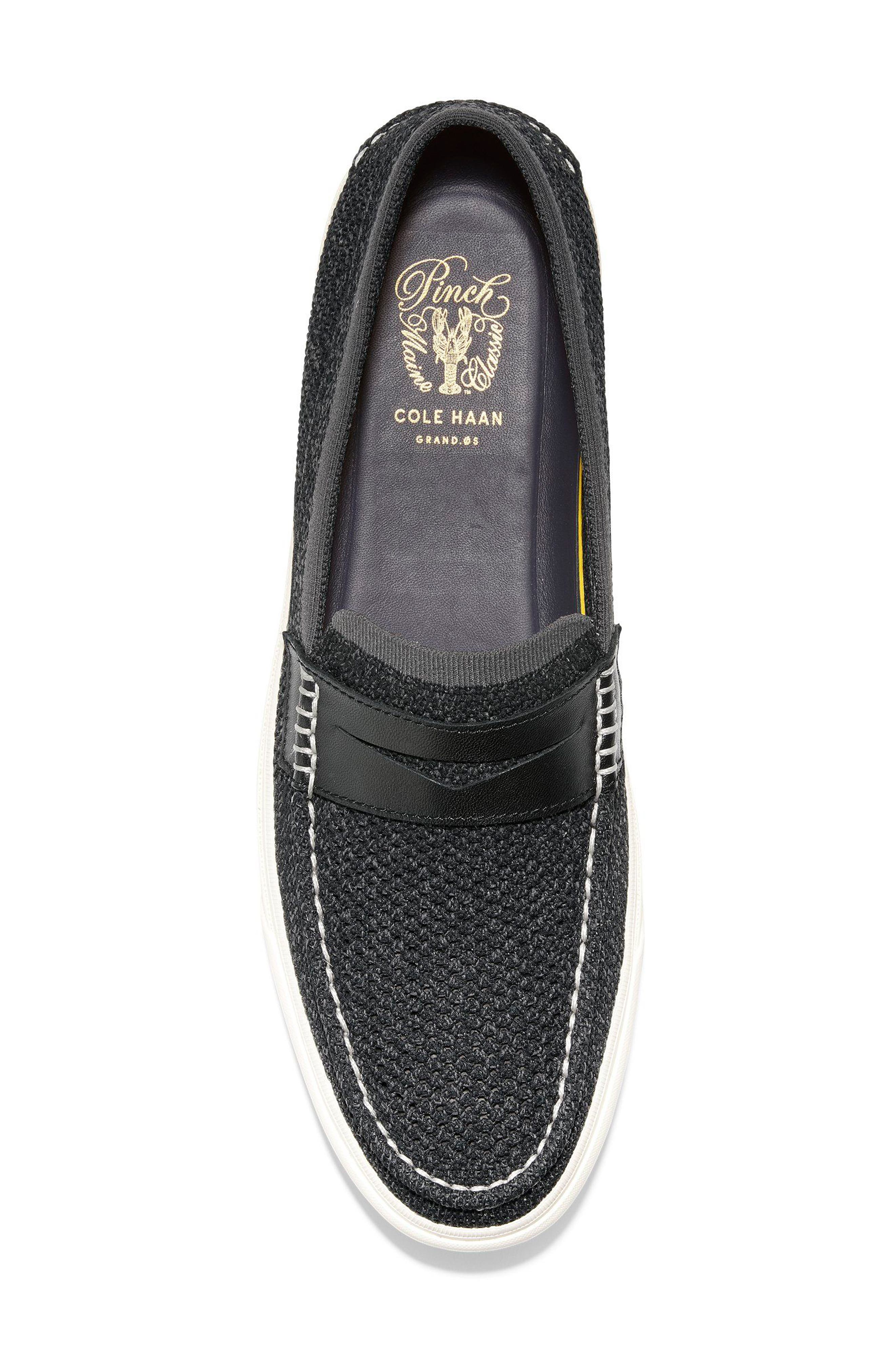Pinch Weekend Stitch Penny Loafer,                             Alternate thumbnail 5, color,                             BLACK MAGNET
