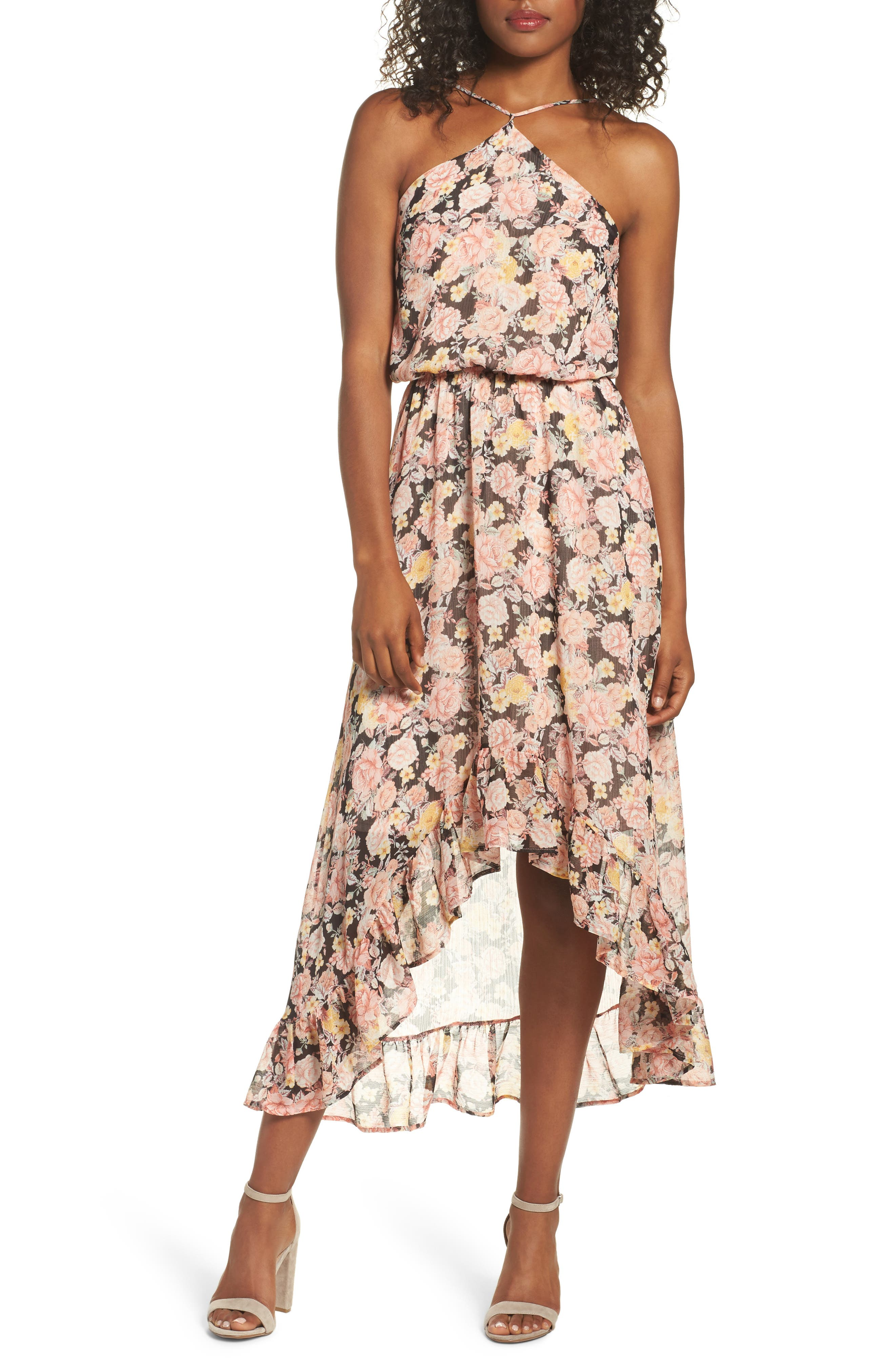 FRAICHE BY J Halter Maxi Dress, Main, color, ELISE