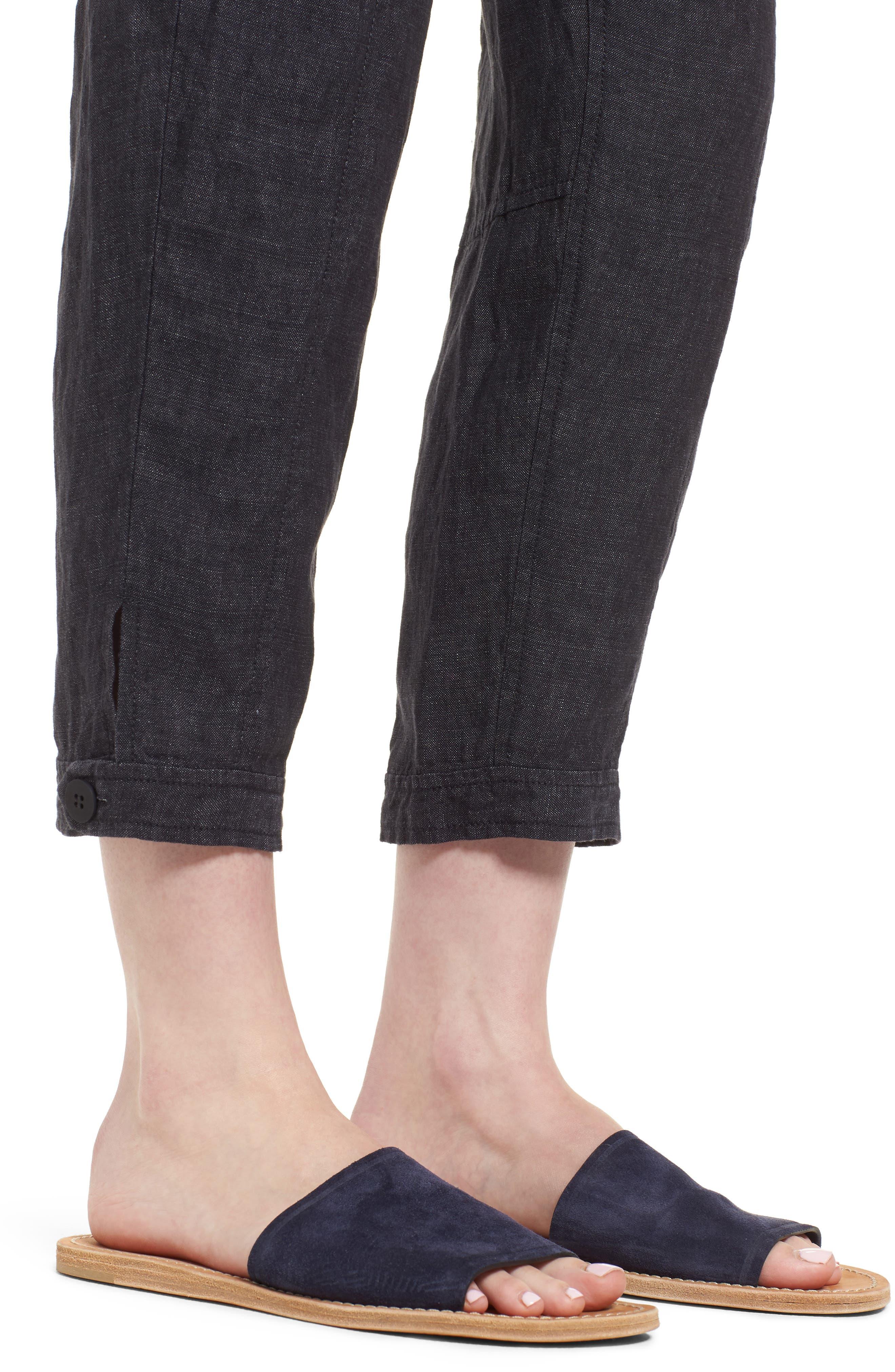 Easy Ankle Organic Linen Pants,                             Alternate thumbnail 4, color,                             080