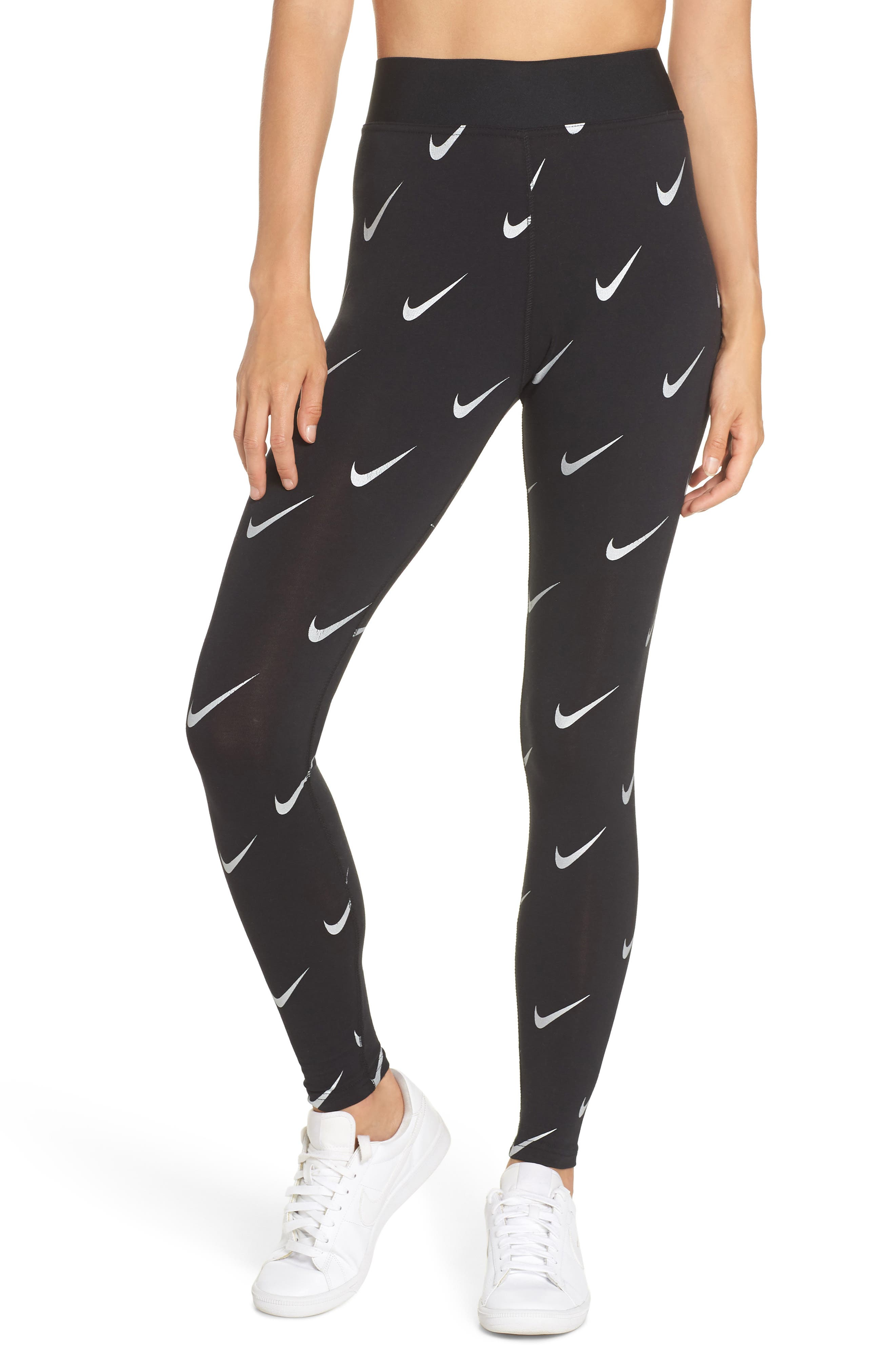 Sportswear Allover Print Logo Leggings,                             Main thumbnail 1, color,                             BLACK
