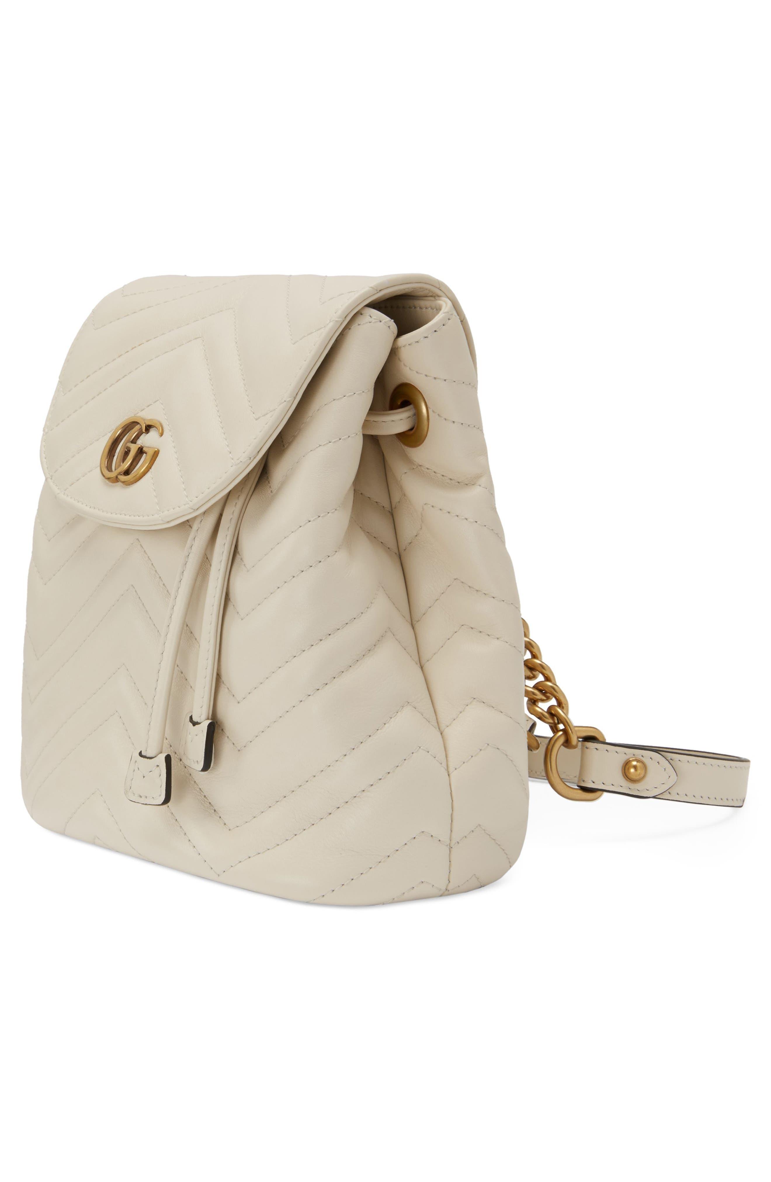 GUCCI,                             GG Marmont 2.0 Matelassé Leather Mini Backpack,                             Alternate thumbnail 4, color,                             MYSTIC WHITE