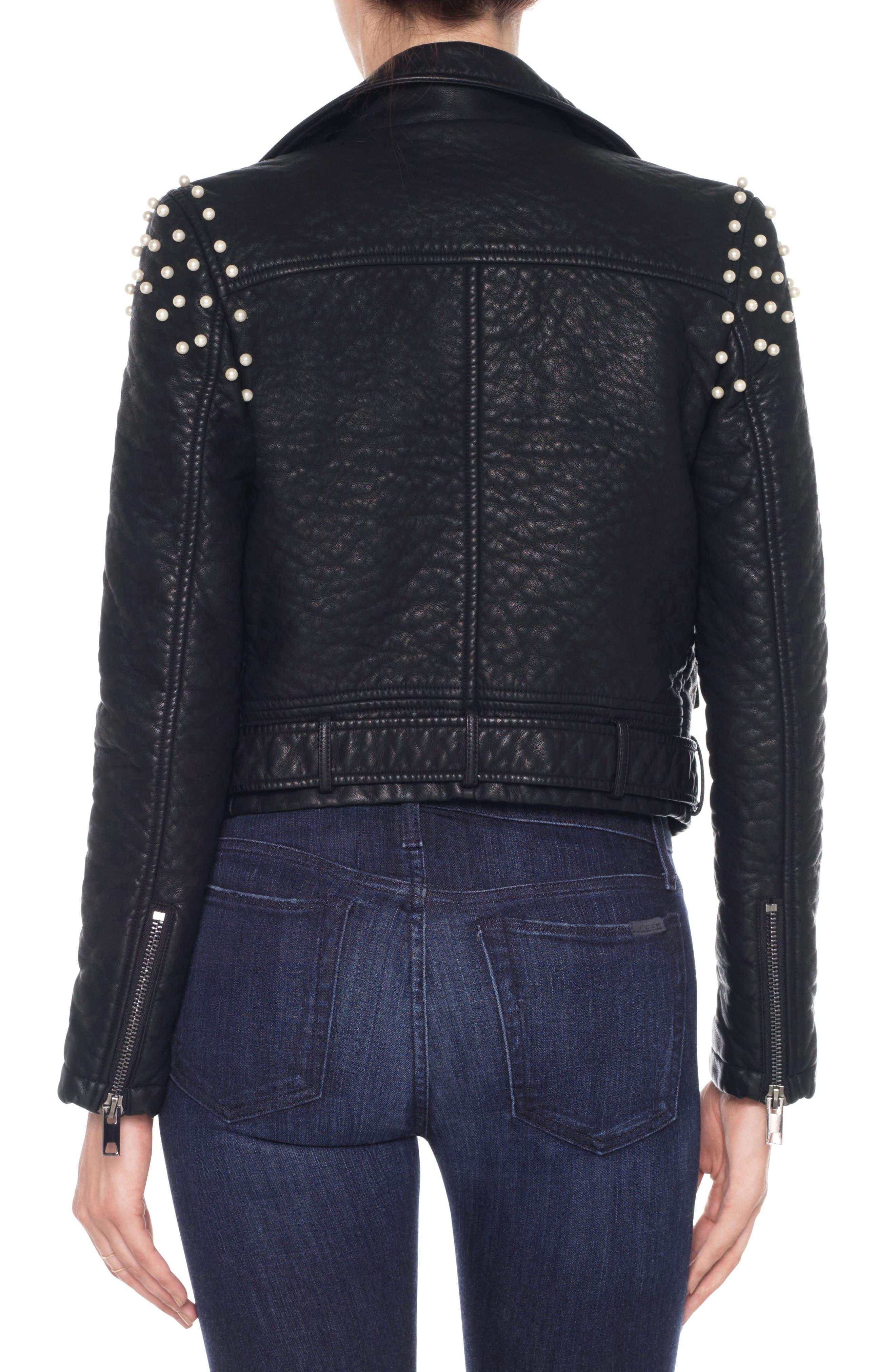 Taylor Embellished Faux Leather Moto Jacket,                             Alternate thumbnail 2, color,                             011