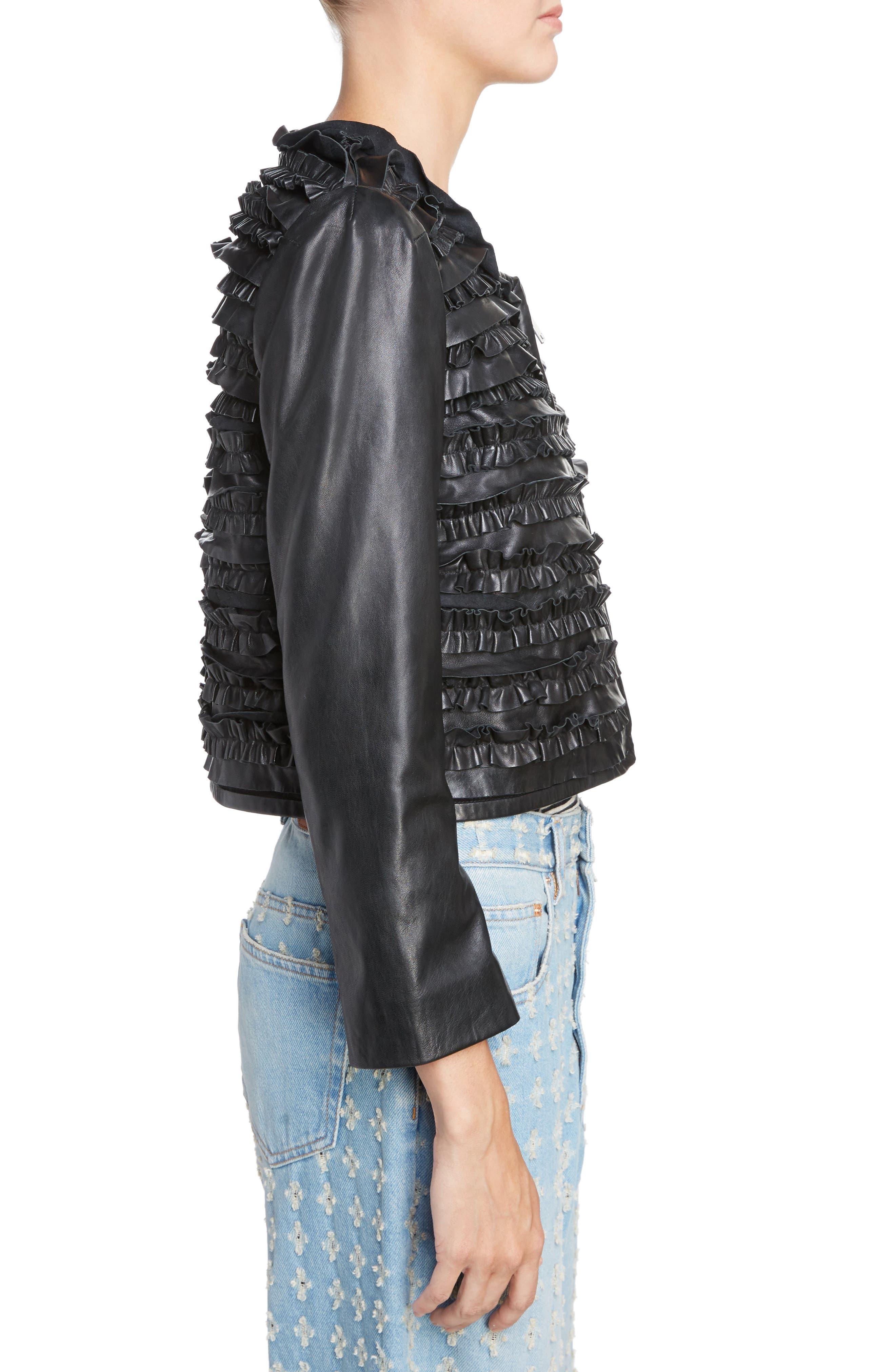 Isabel Marant Étoile Abella Frill Leather Jacket,                             Alternate thumbnail 3, color,