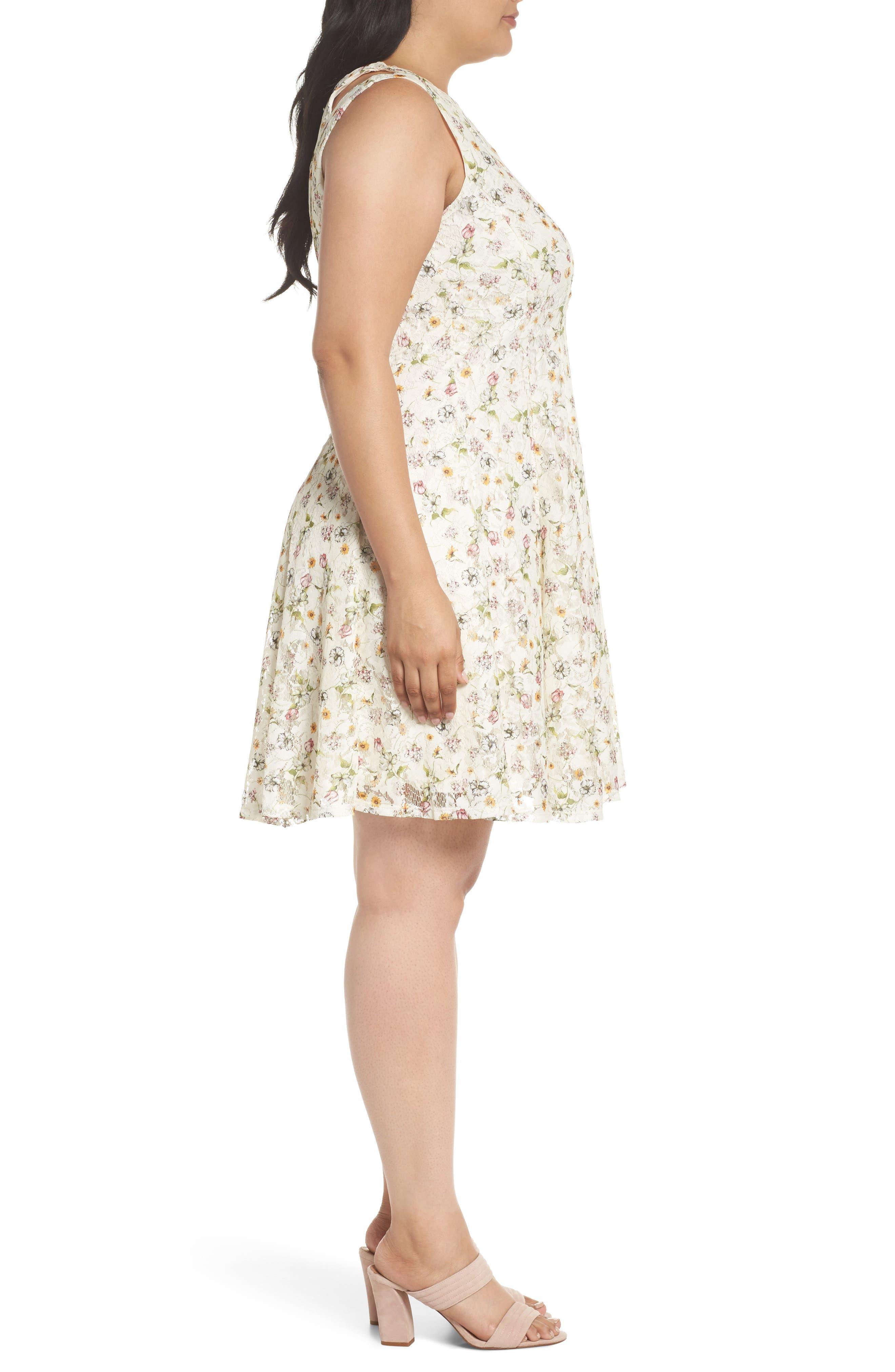 Cutout Shoulder Floral Print Lace Dress,                             Alternate thumbnail 3, color,                             111