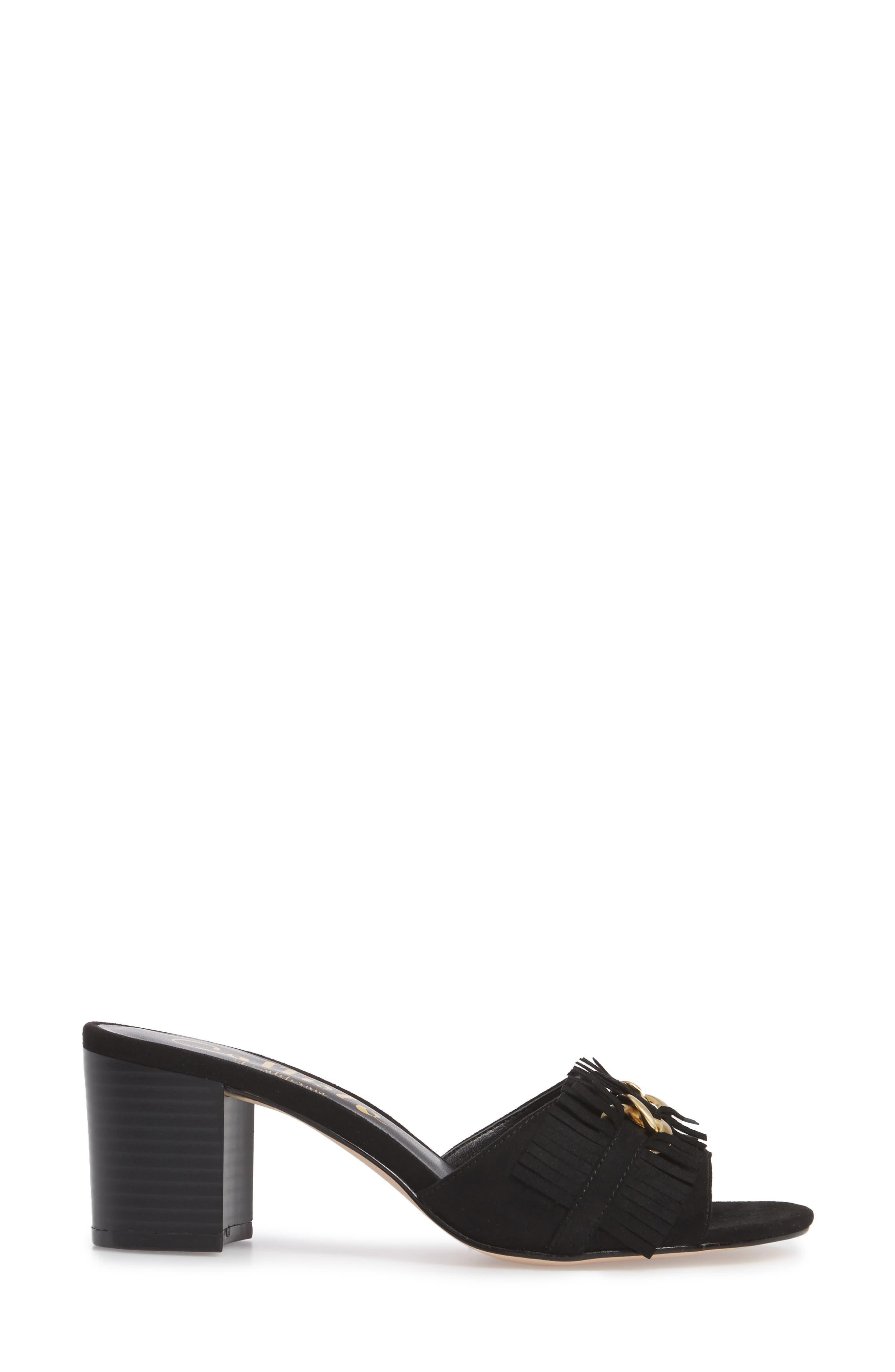 Zinnia Block Heel Slide Sandal,                             Alternate thumbnail 3, color,                             BLACK SUEDE