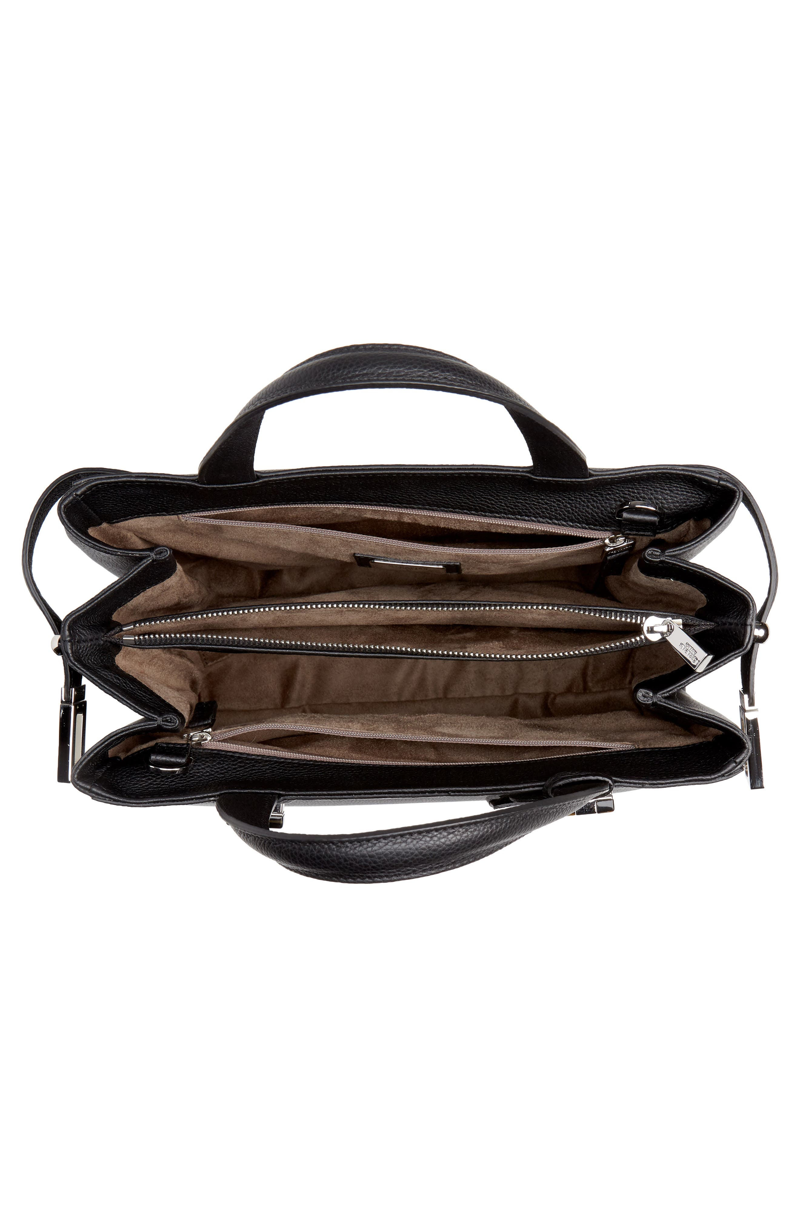 Small Meline Evolution Leather Bag,                             Alternate thumbnail 4, color,                             BLACK