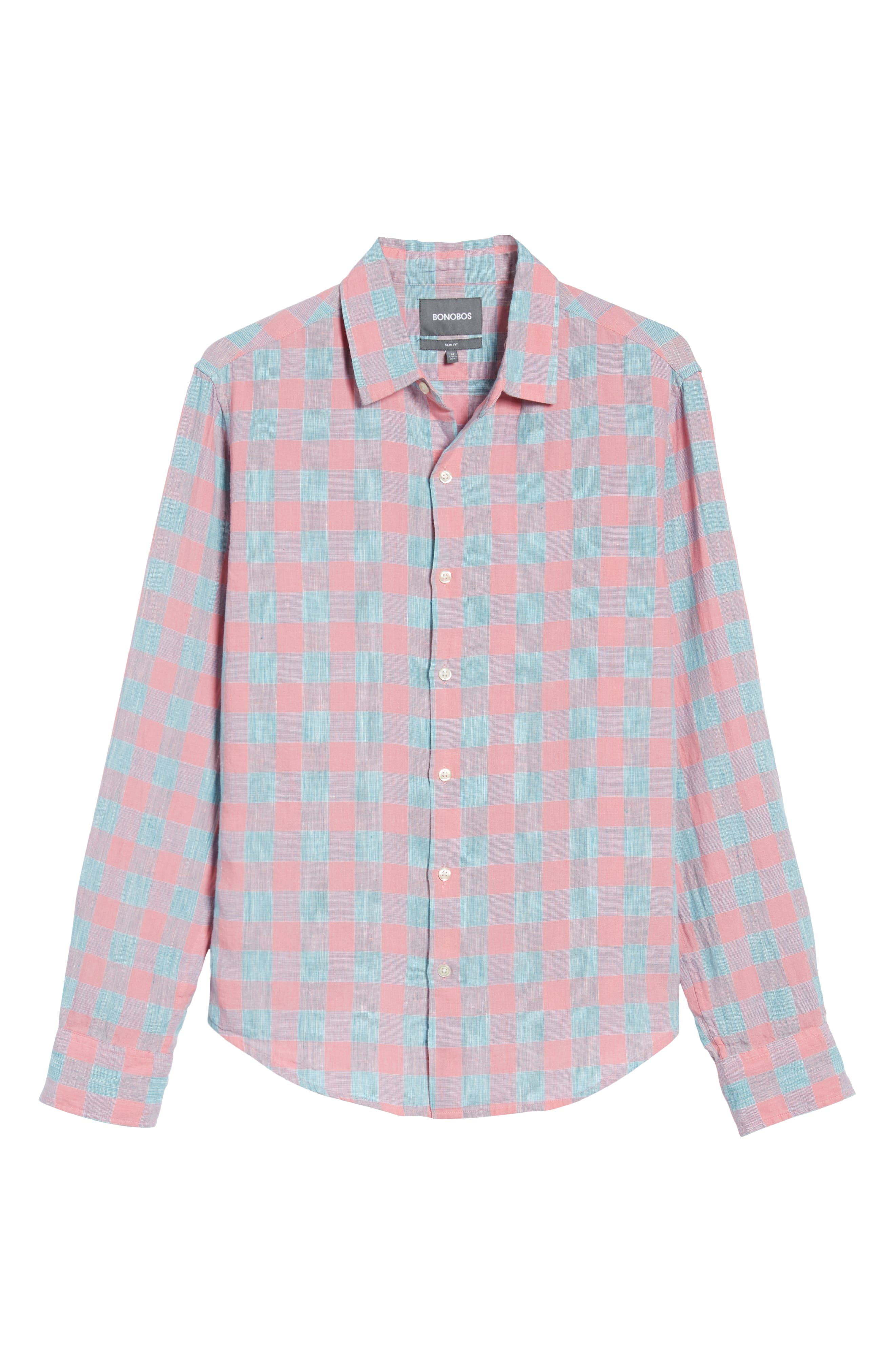 Slim Fit Plaid Linen & Cotton Sport Shirt,                             Alternate thumbnail 6, color,                             650
