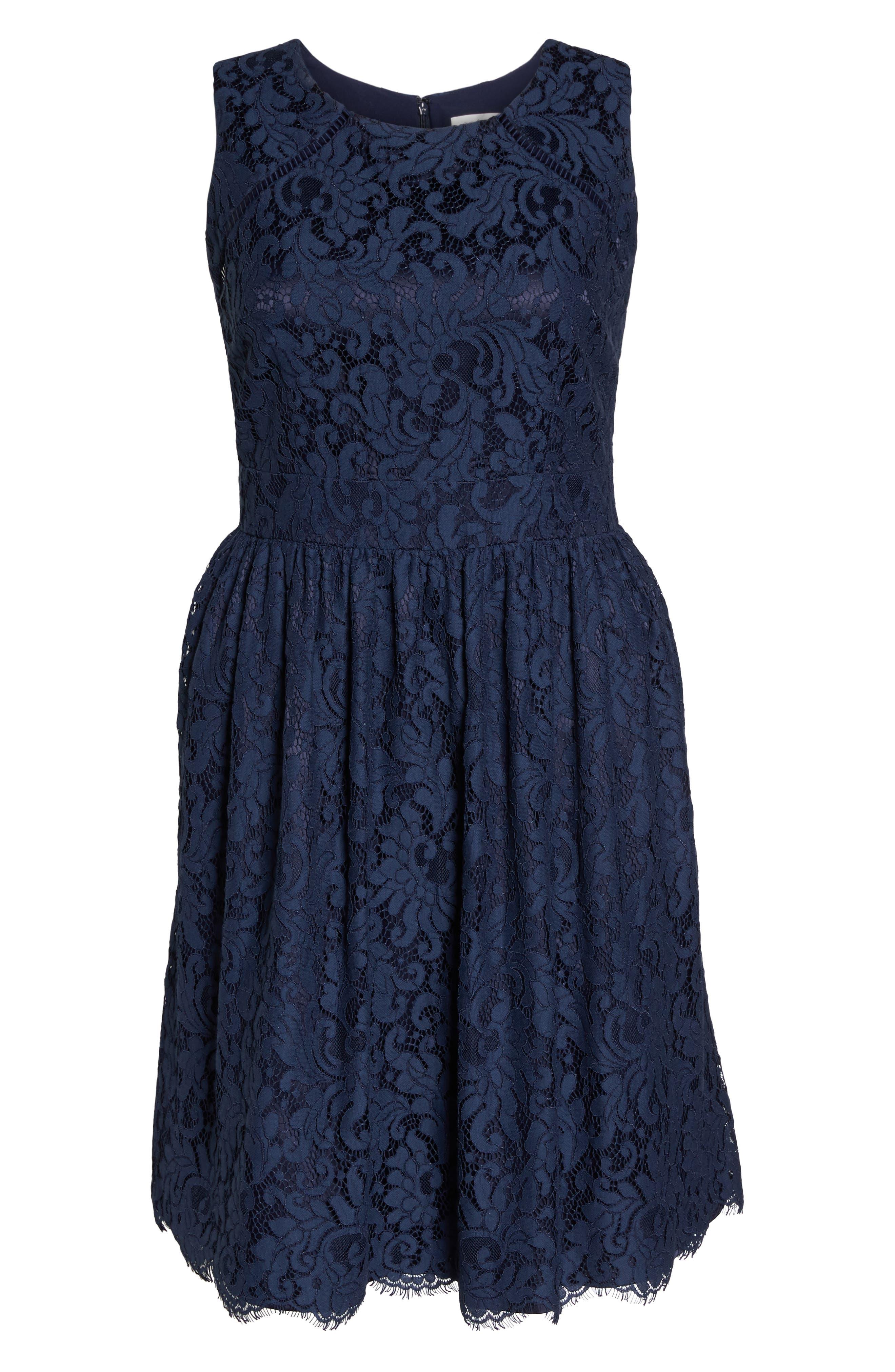 Fit & Flare Lace Dress,                             Alternate thumbnail 6, color,                             410