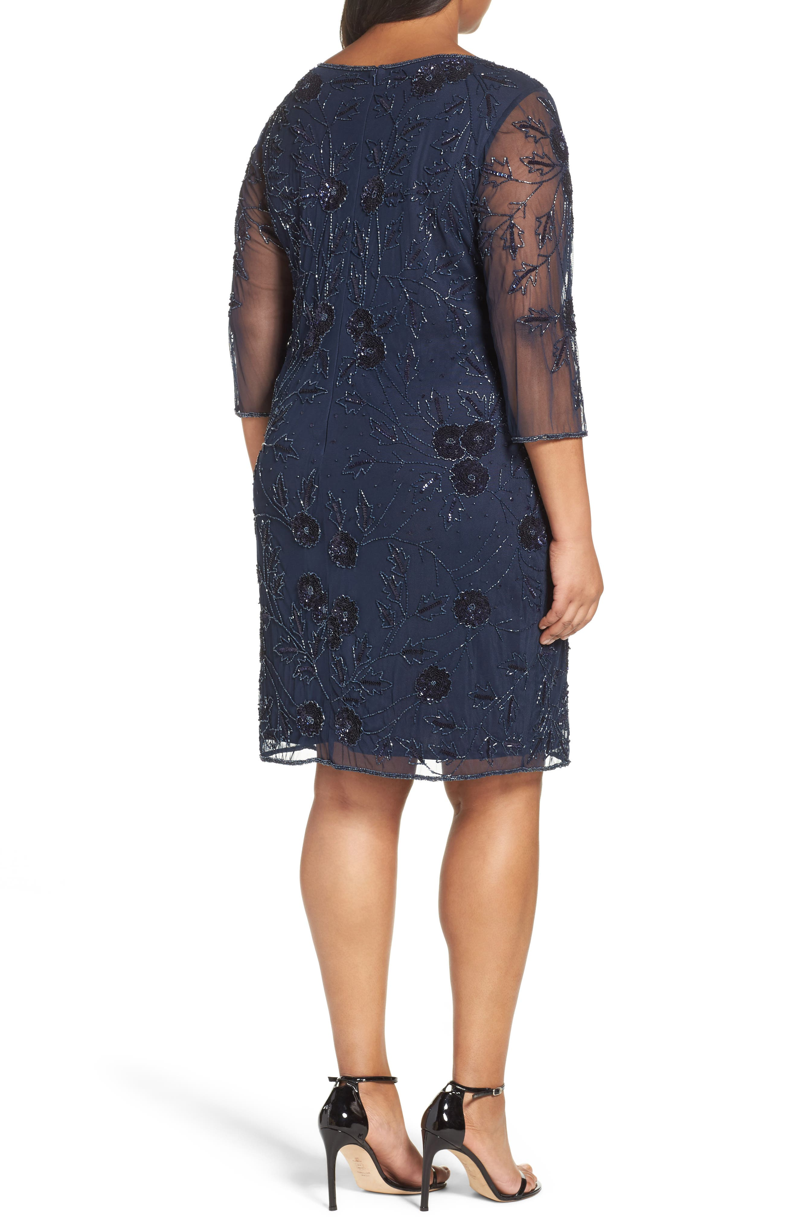 Embroidered Cocktail Dress,                             Alternate thumbnail 2, color,                             410