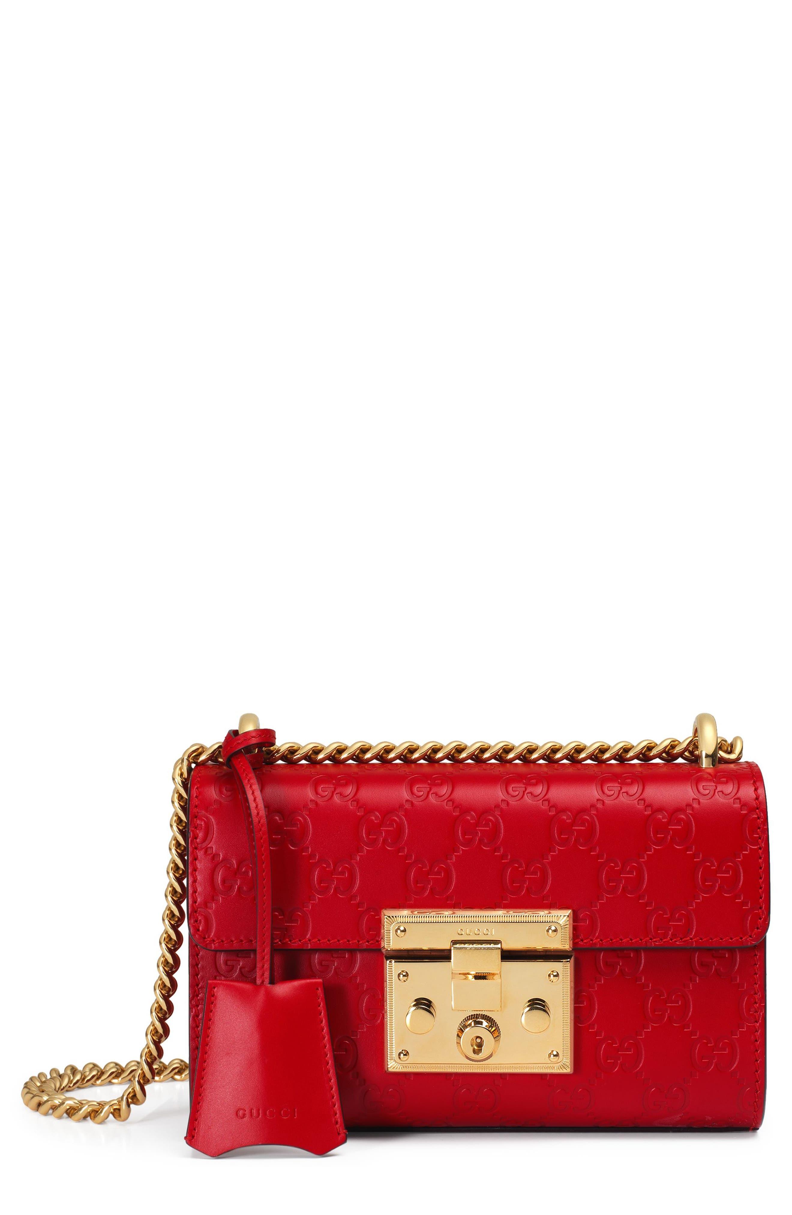 Small Padlock Signature Leather Shoulder Bag,                             Main thumbnail 1, color,                             HIBISCUS RED