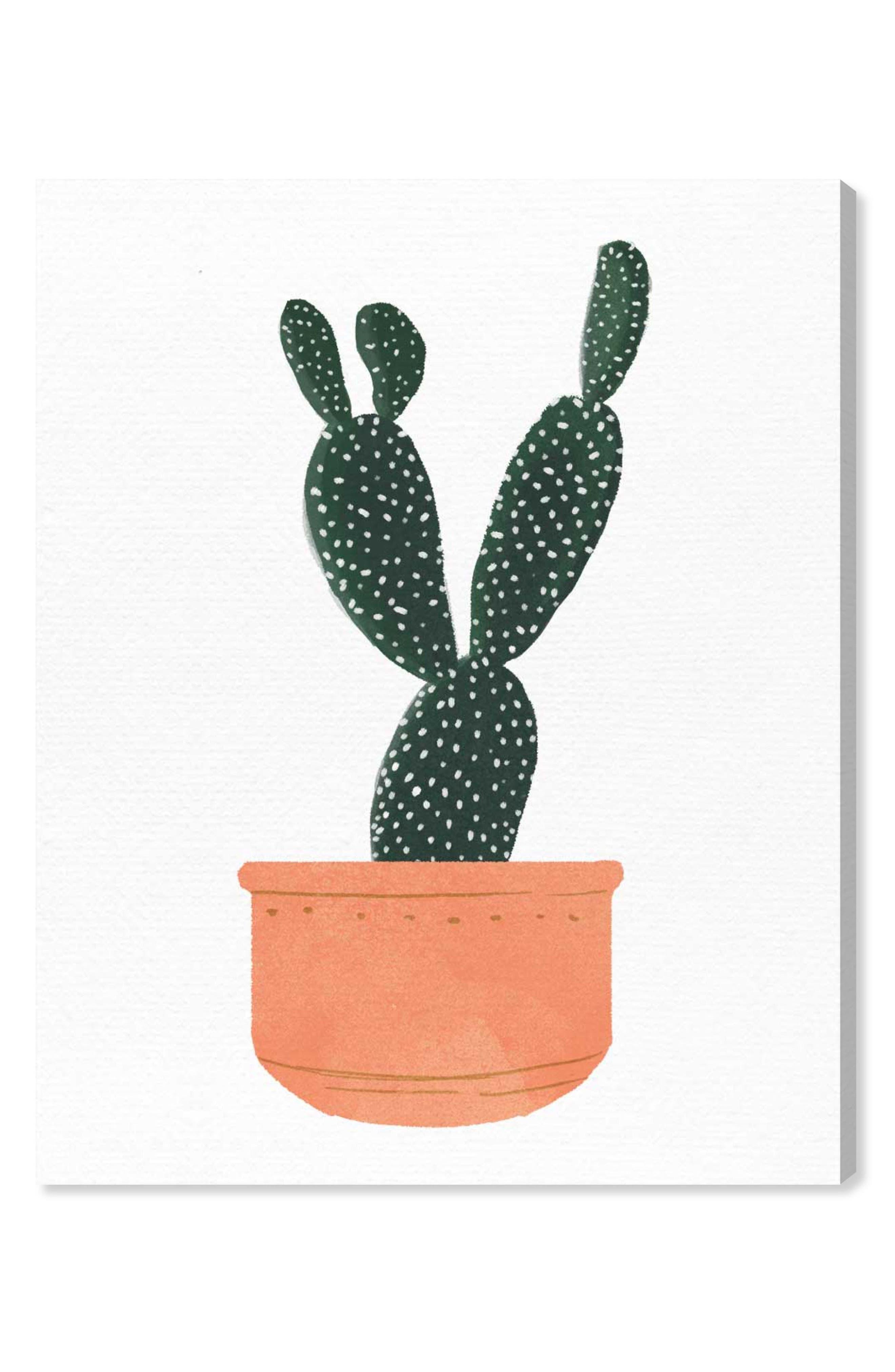 Cactus Coral Canvas Wall Art,                         Main,                         color, GREEN