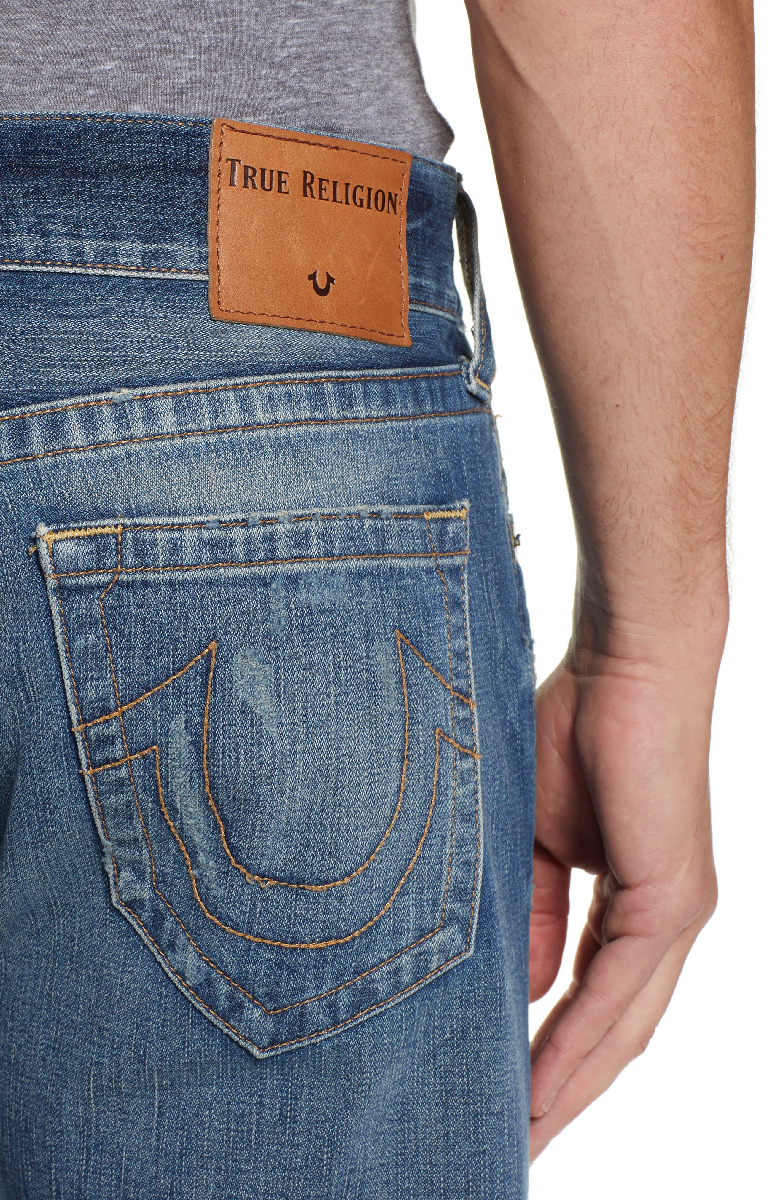 TRUE RELIGION BRAND JEANS,                             Geno Straight Leg Jeans,                             Alternate thumbnail 4, color,                             WORN REBEL
