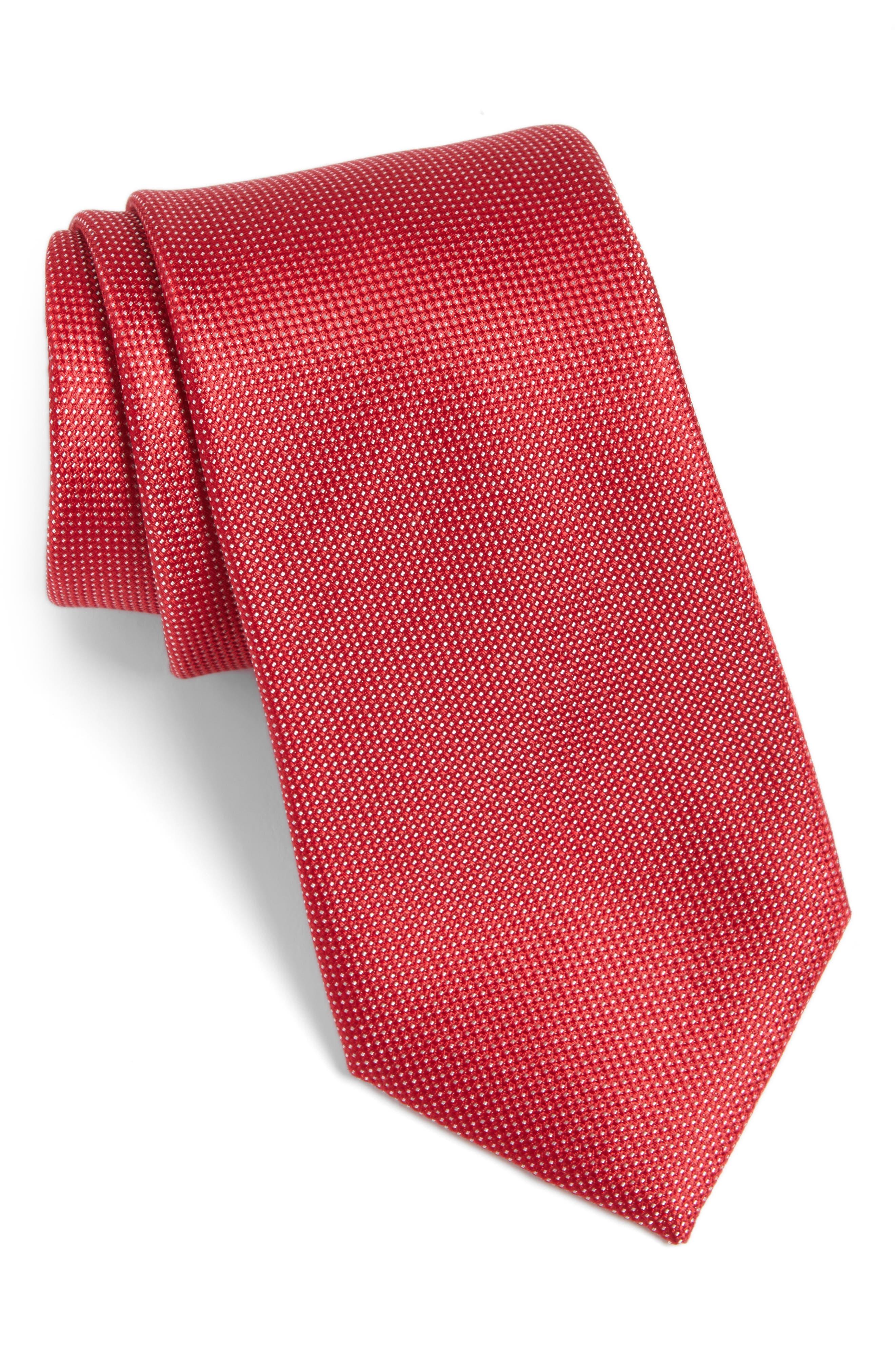 Rawson Solid Silk Tie,                         Main,                         color, RED