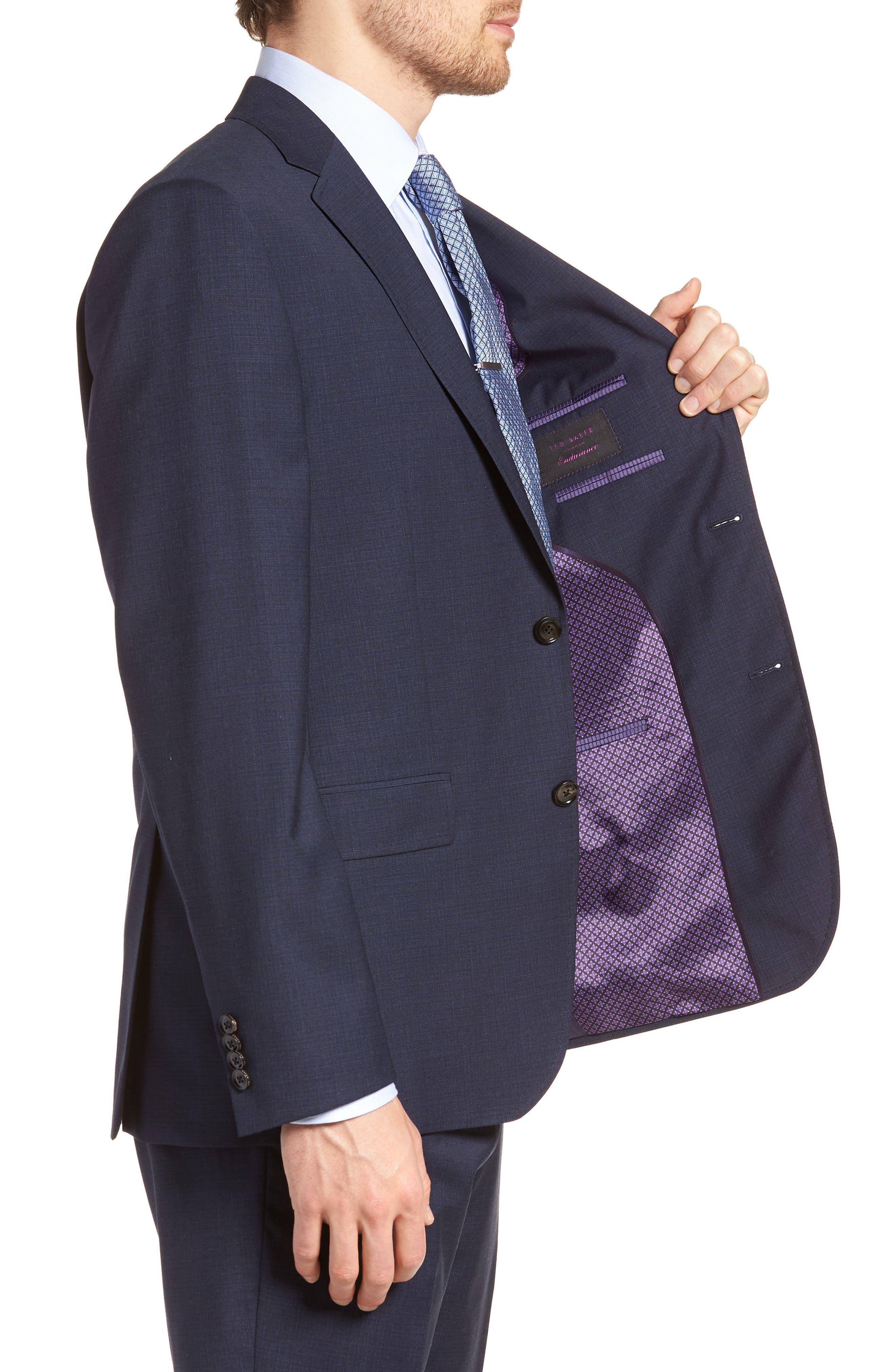 Jay Trim Fit Solid Wool Suit,                             Alternate thumbnail 4, color,                             BLUE