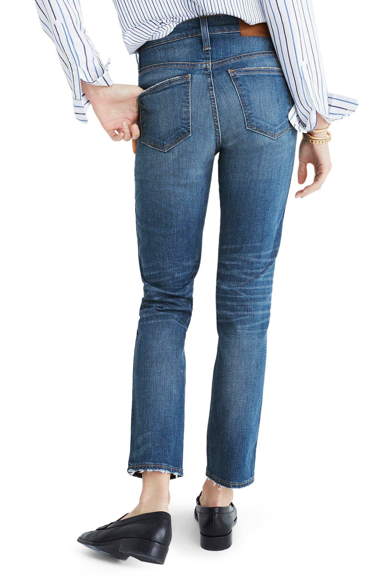 Distressed Slim Straight Leg Jeans,                             Alternate thumbnail 4, color,                             400