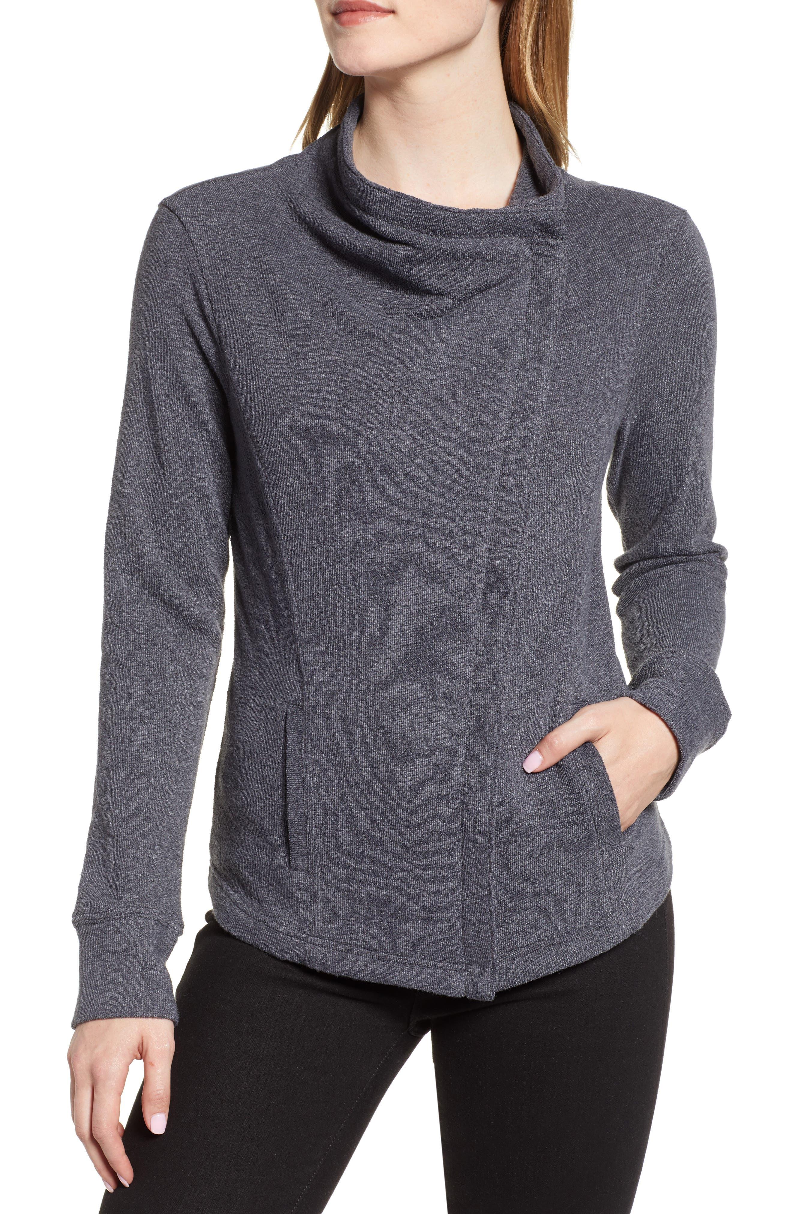 CASLON<SUP>®</SUP>,                             Knit Moto Jacket,                             Alternate thumbnail 4, color,                             GREY EBONY