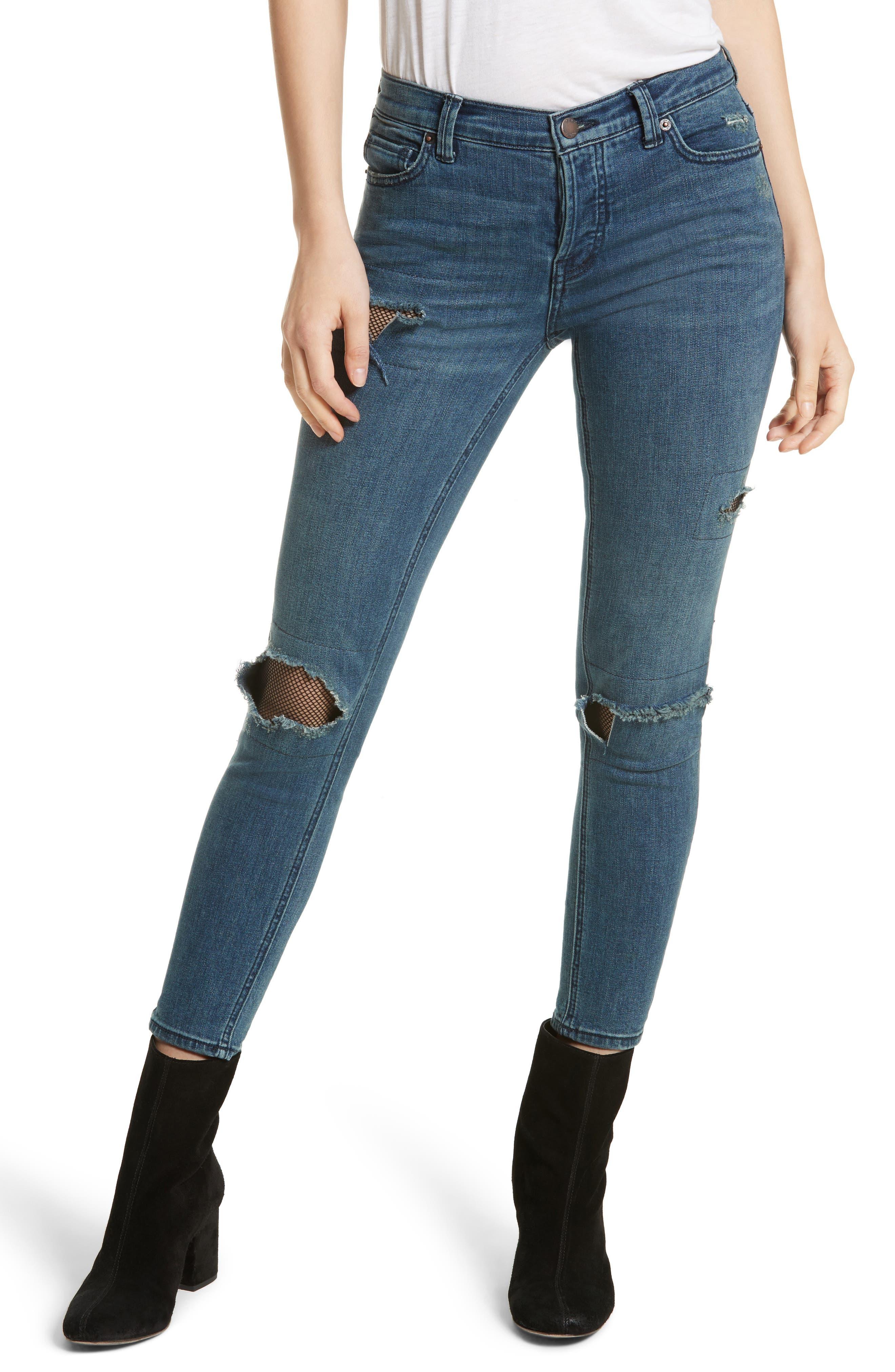Fishnet Skinny Jeans,                             Main thumbnail 1, color,                             400