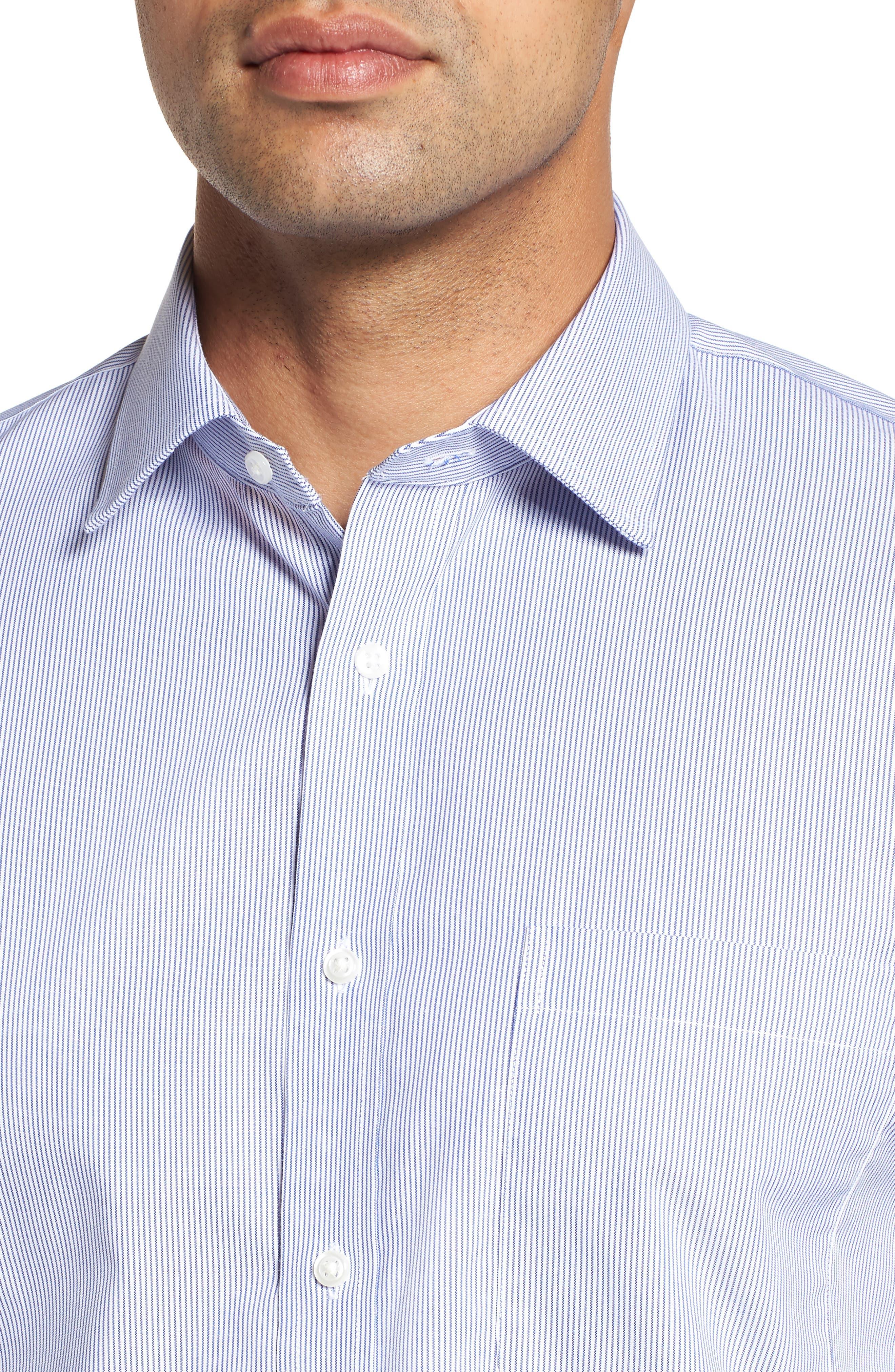 Trim Fit Non-Iron Stripe Dress Shirt,                             Alternate thumbnail 2, color,                             NAVY PATRIOT