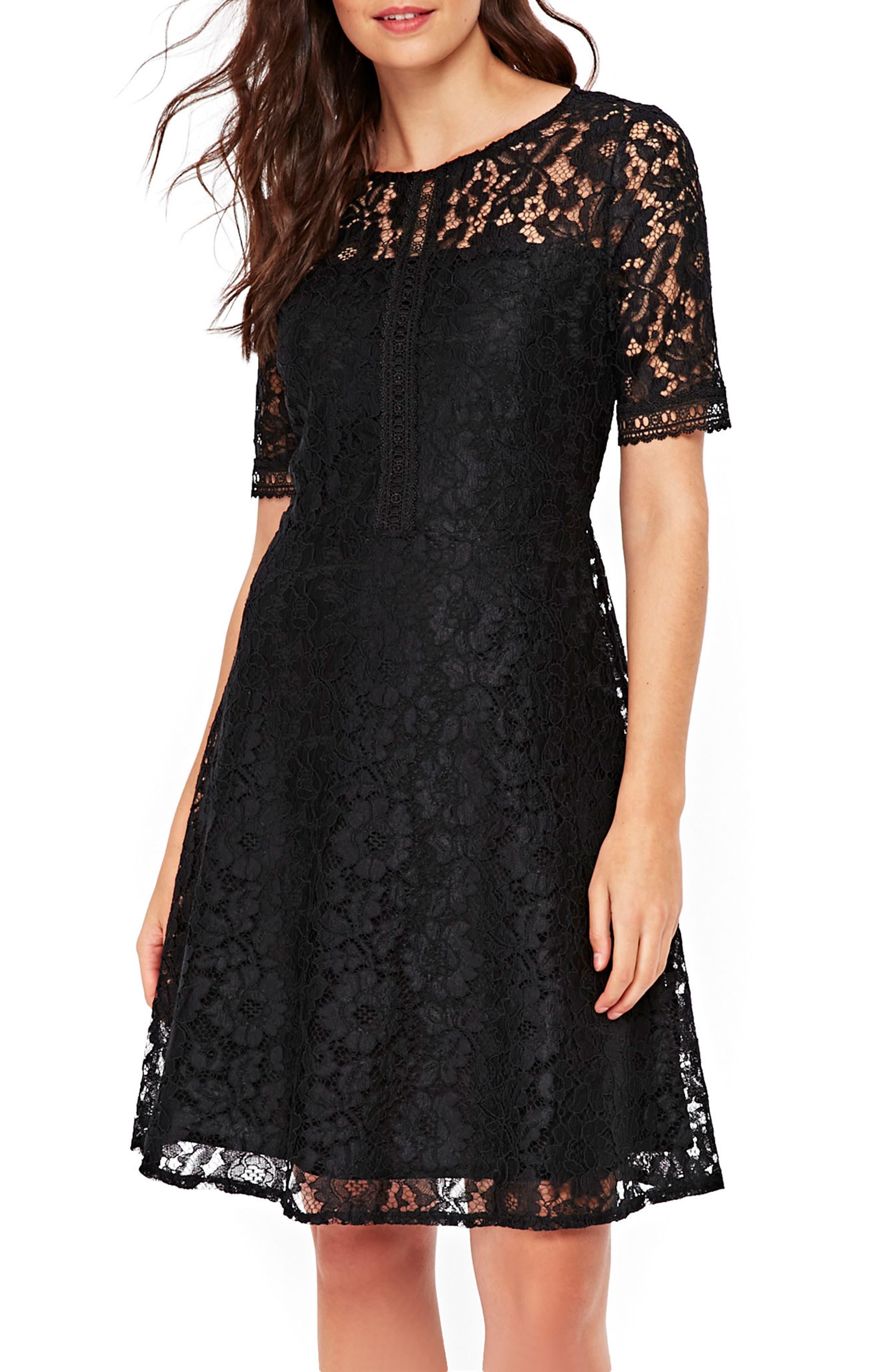 Lace & Lattice Fit & Flare Dress,                         Main,                         color, 001