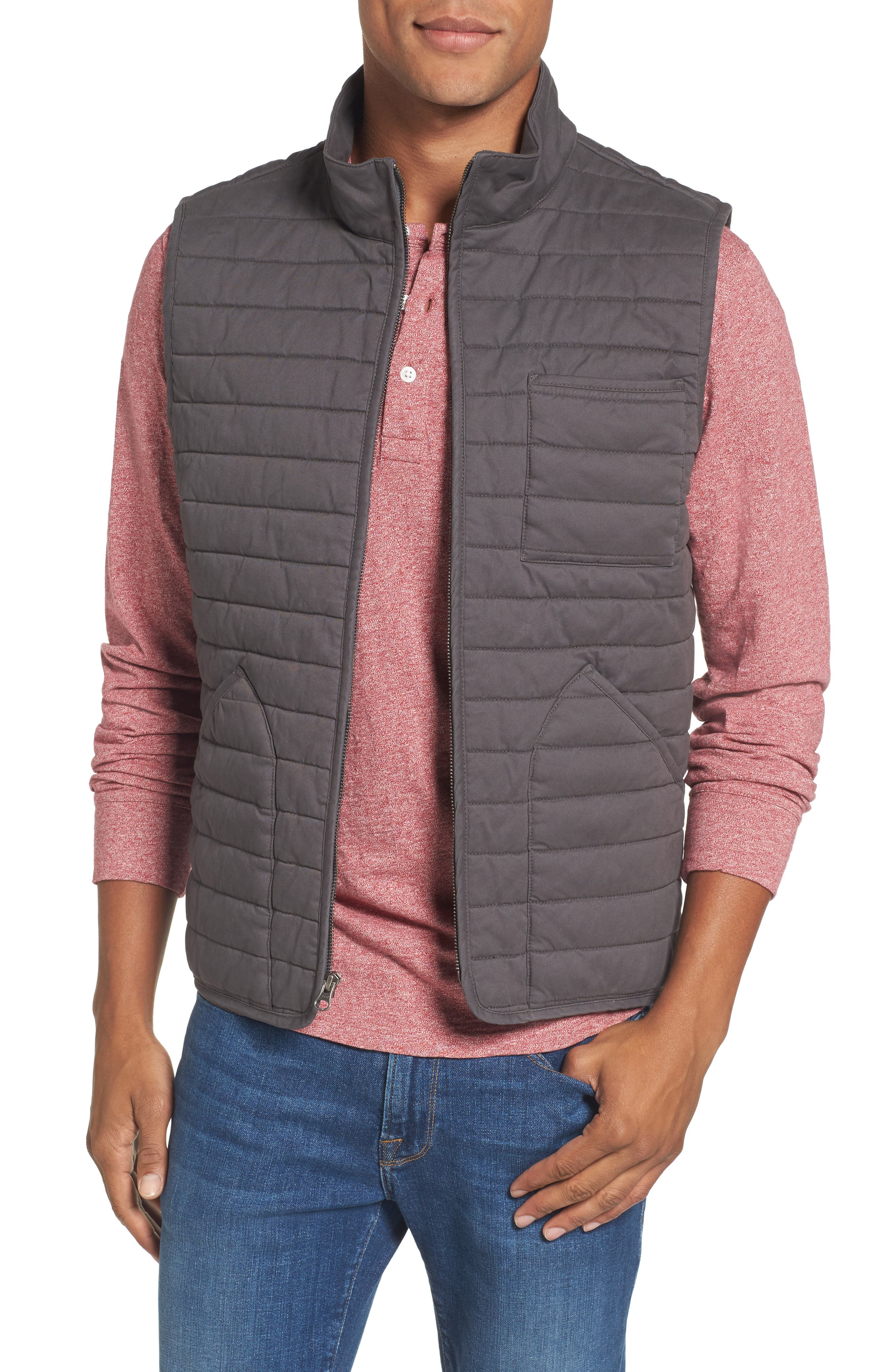 Quilted Twill Vest,                         Main,                         color, 021