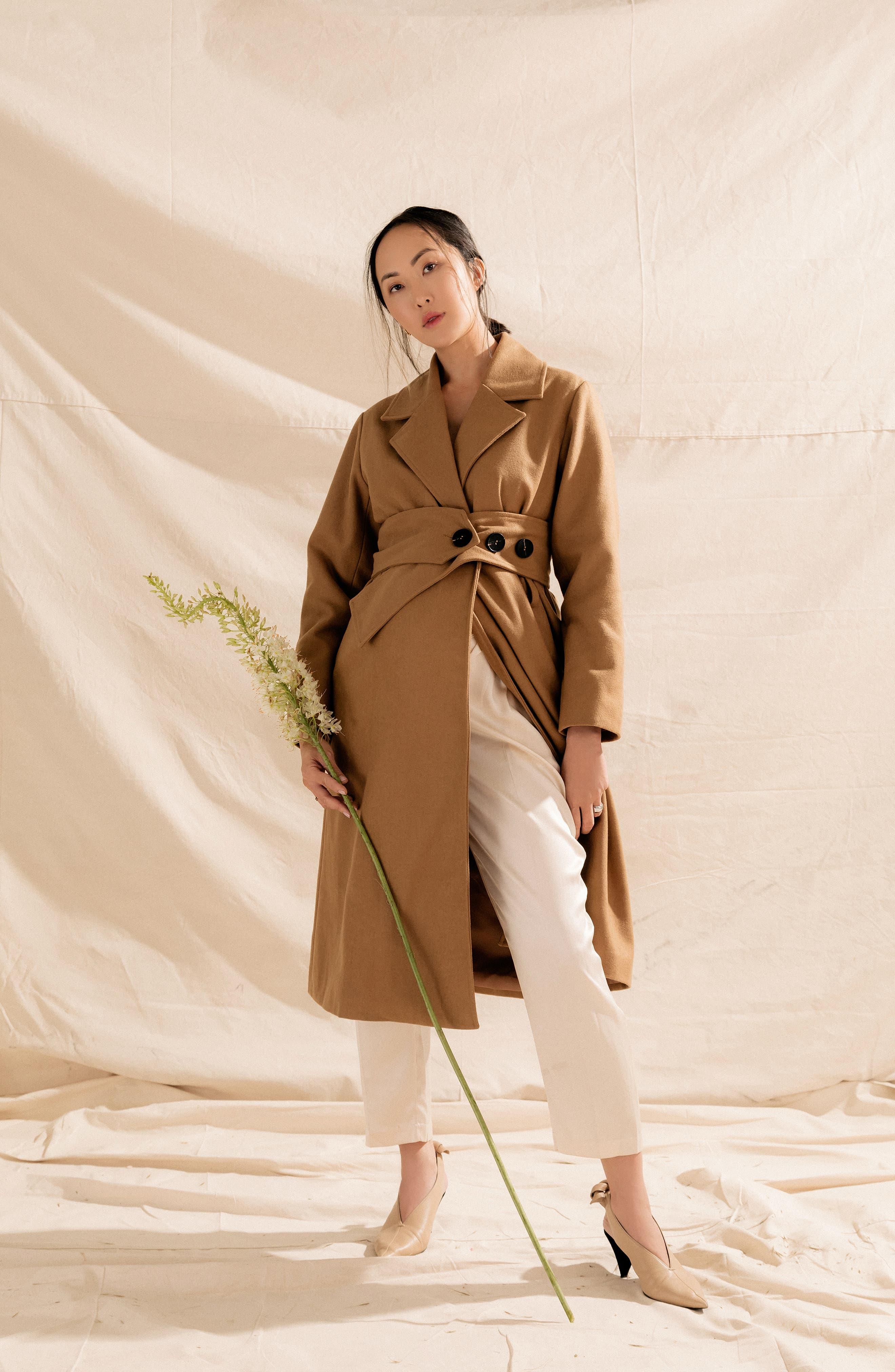 Chriselle Lim Victoria Belted Coat,                             Alternate thumbnail 8, color,                             CAMEL