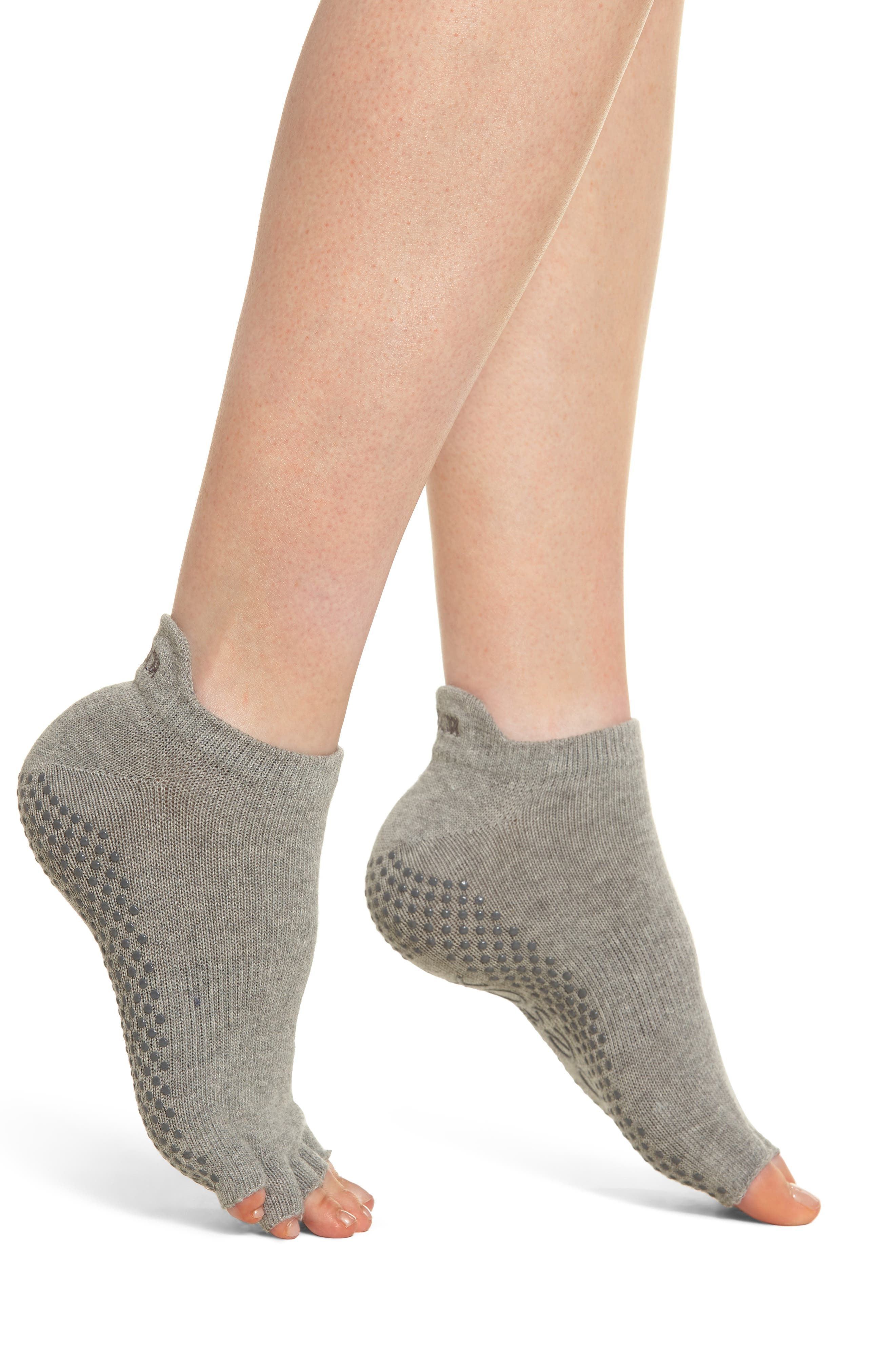 Low Rise Half-Toe Gripper Socks,                             Main thumbnail 1, color,                             HEATHER GREY