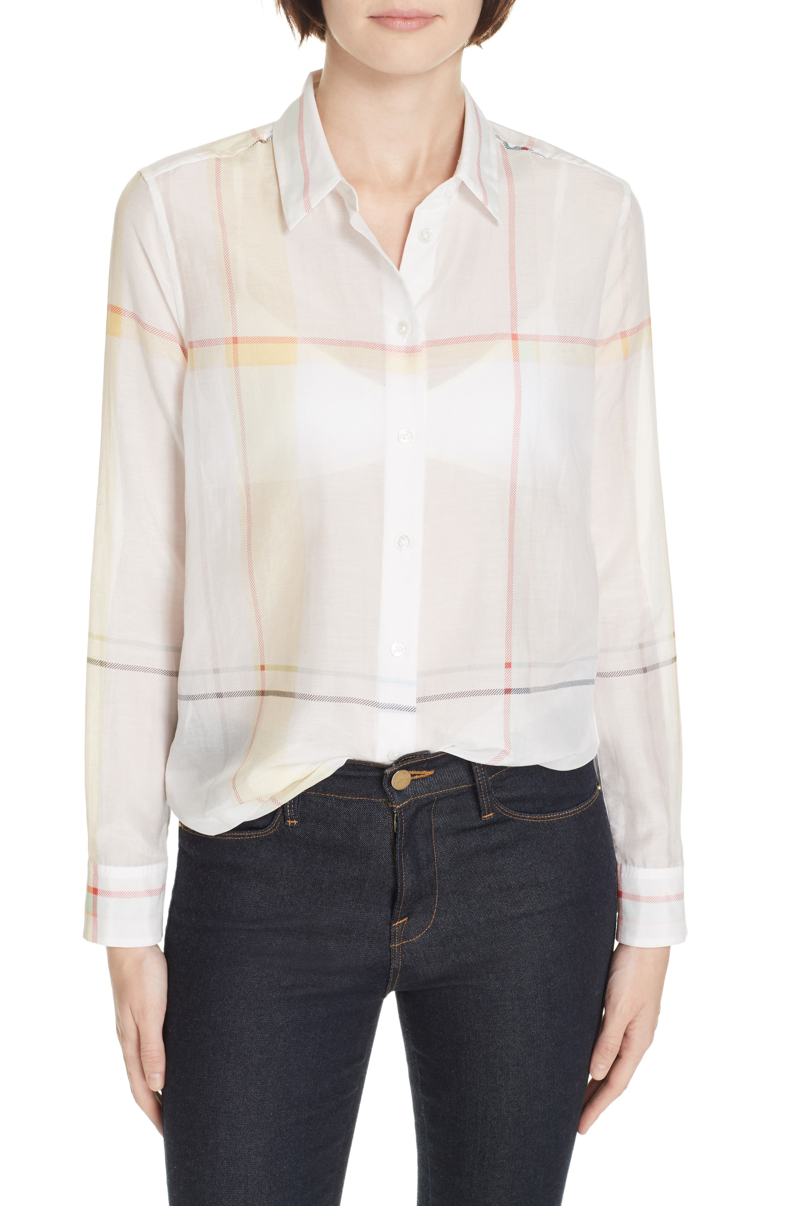 Essential Plaid Cotton & Silk Shirt,                             Main thumbnail 1, color,                             NATURE WHITE MULTI