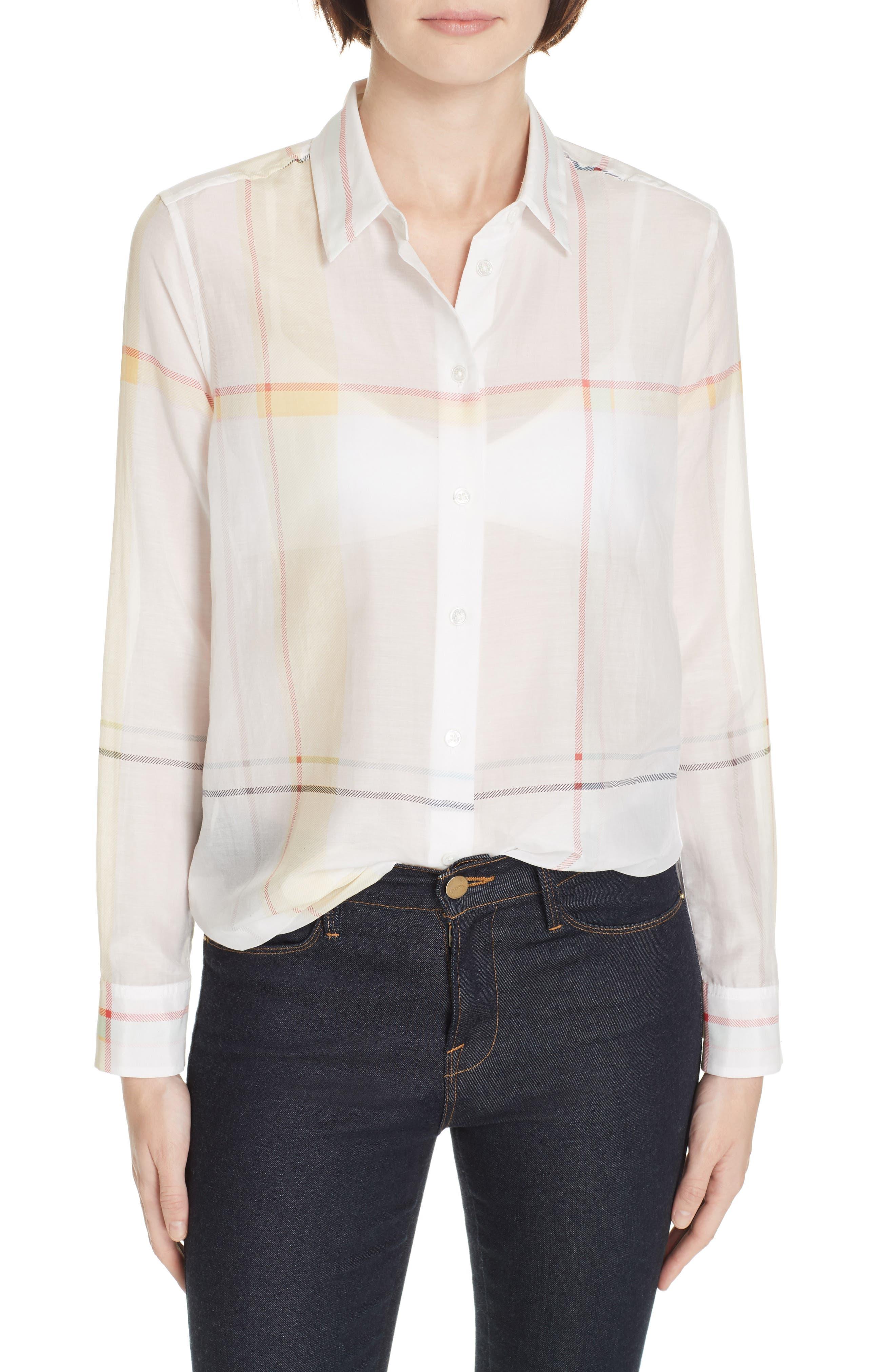 Essential Plaid Cotton & Silk Shirt, Main, color, NATURE WHITE MULTI