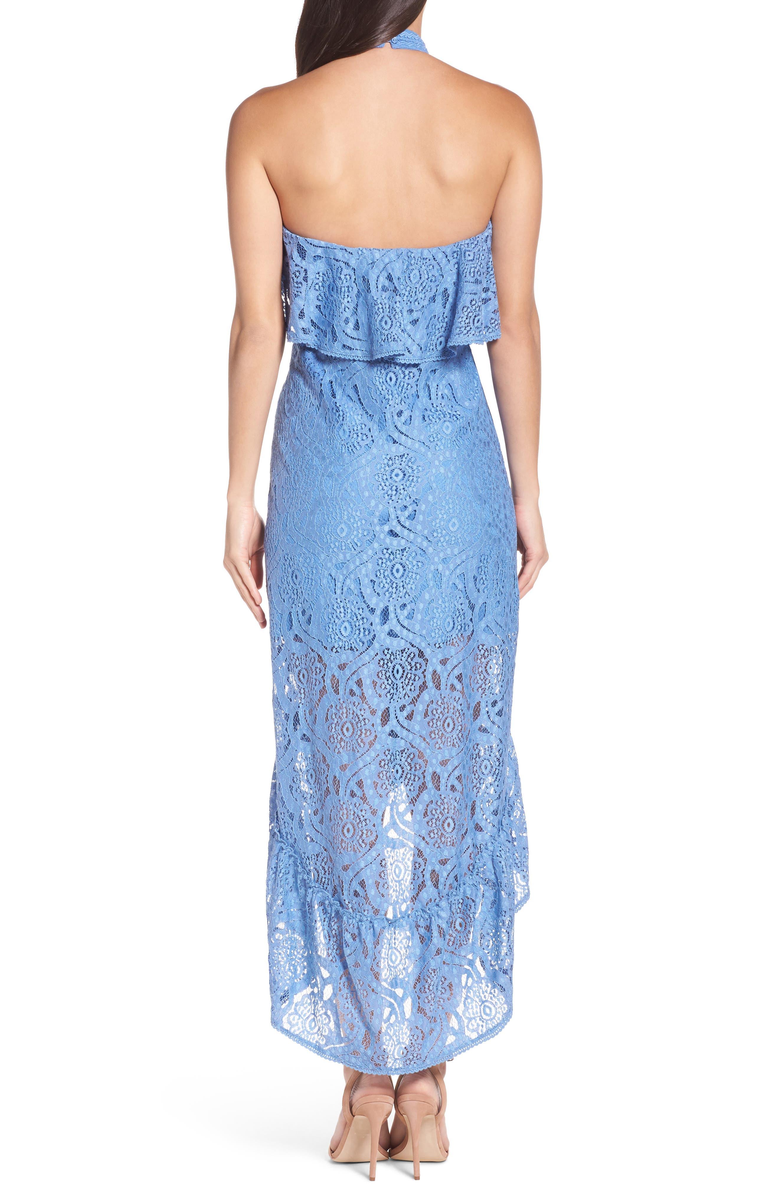 Ruffle Lace Midi Dress,                             Alternate thumbnail 2, color,