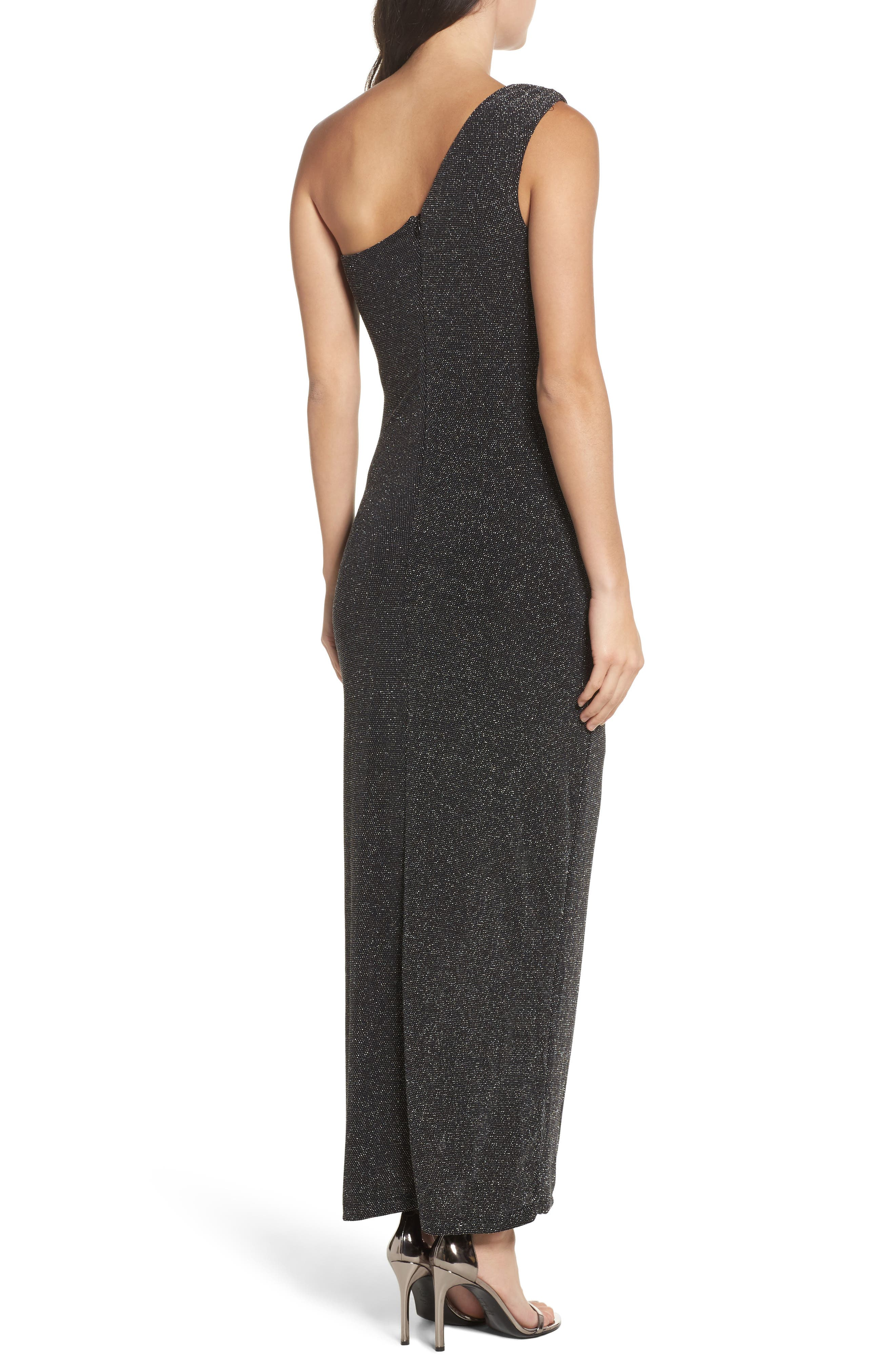 Slit Front One-Shoulder Gown,                             Alternate thumbnail 2, color,                             001