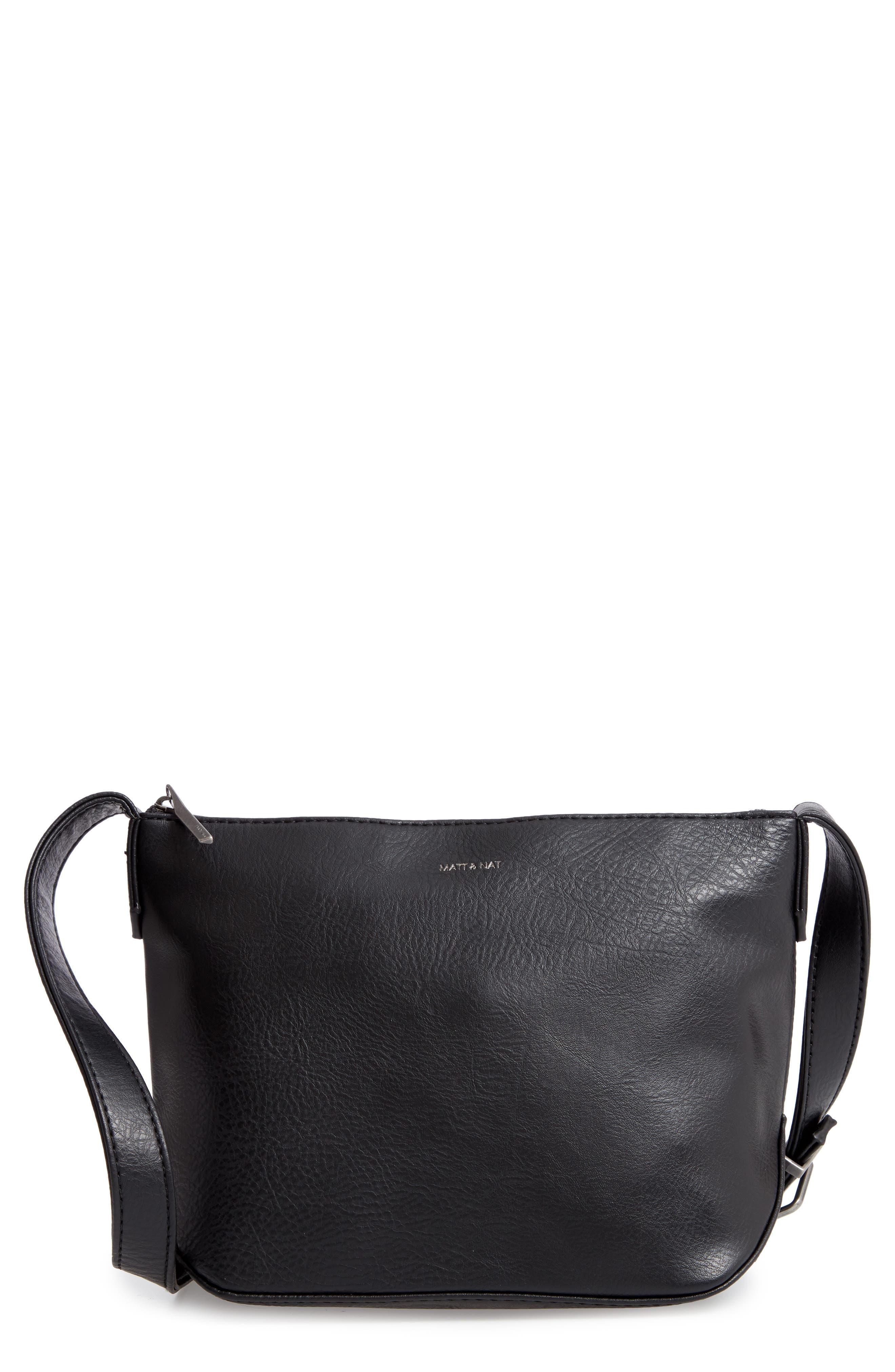 Matt & Nat Large Sam Faux Leather Crossbody Bag - Black