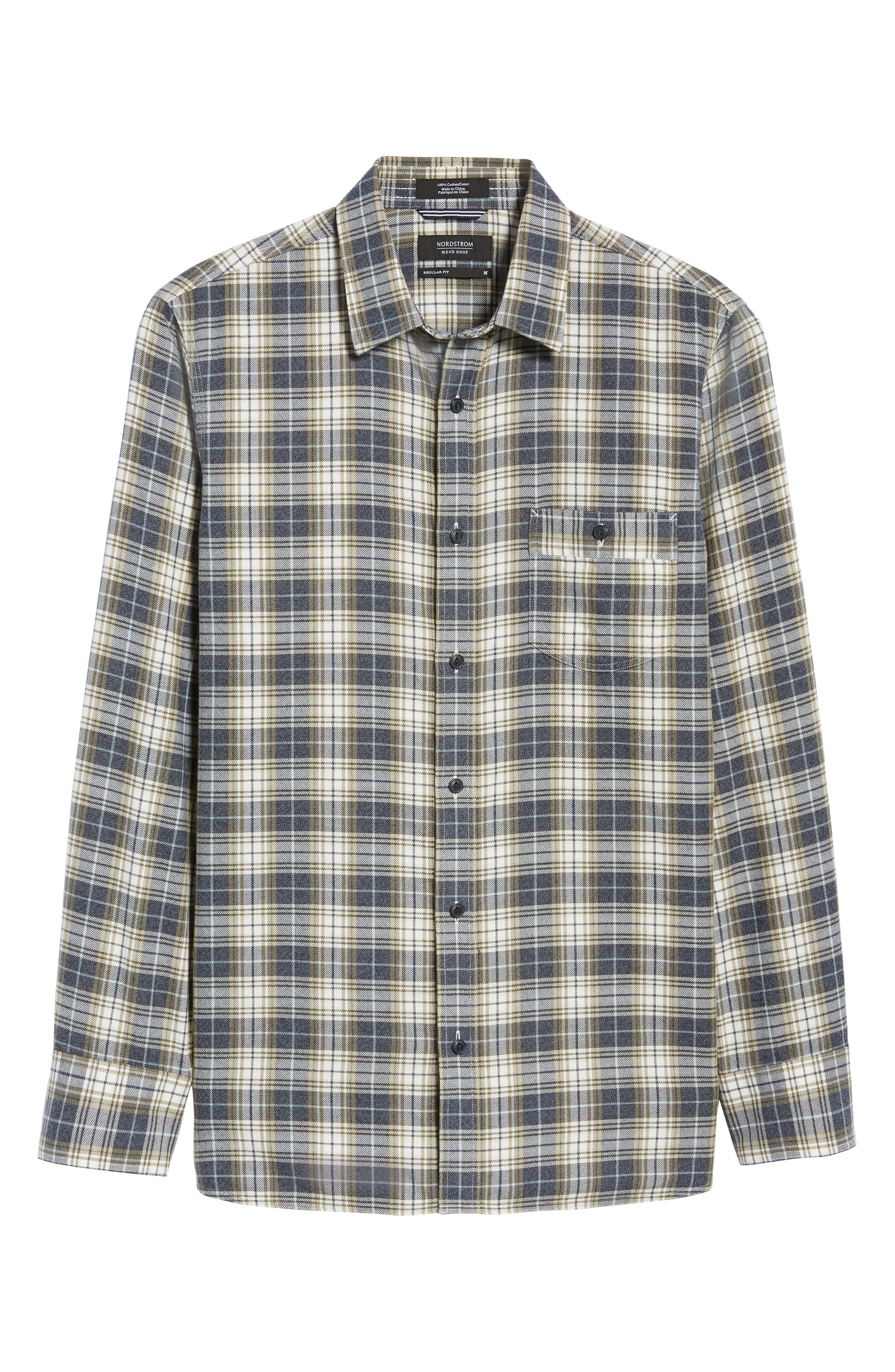 Trucker Regular Fit Plaid Flannel Shirt,                             Alternate thumbnail 5, color,                             IVORY EGRET TWILL PLAID