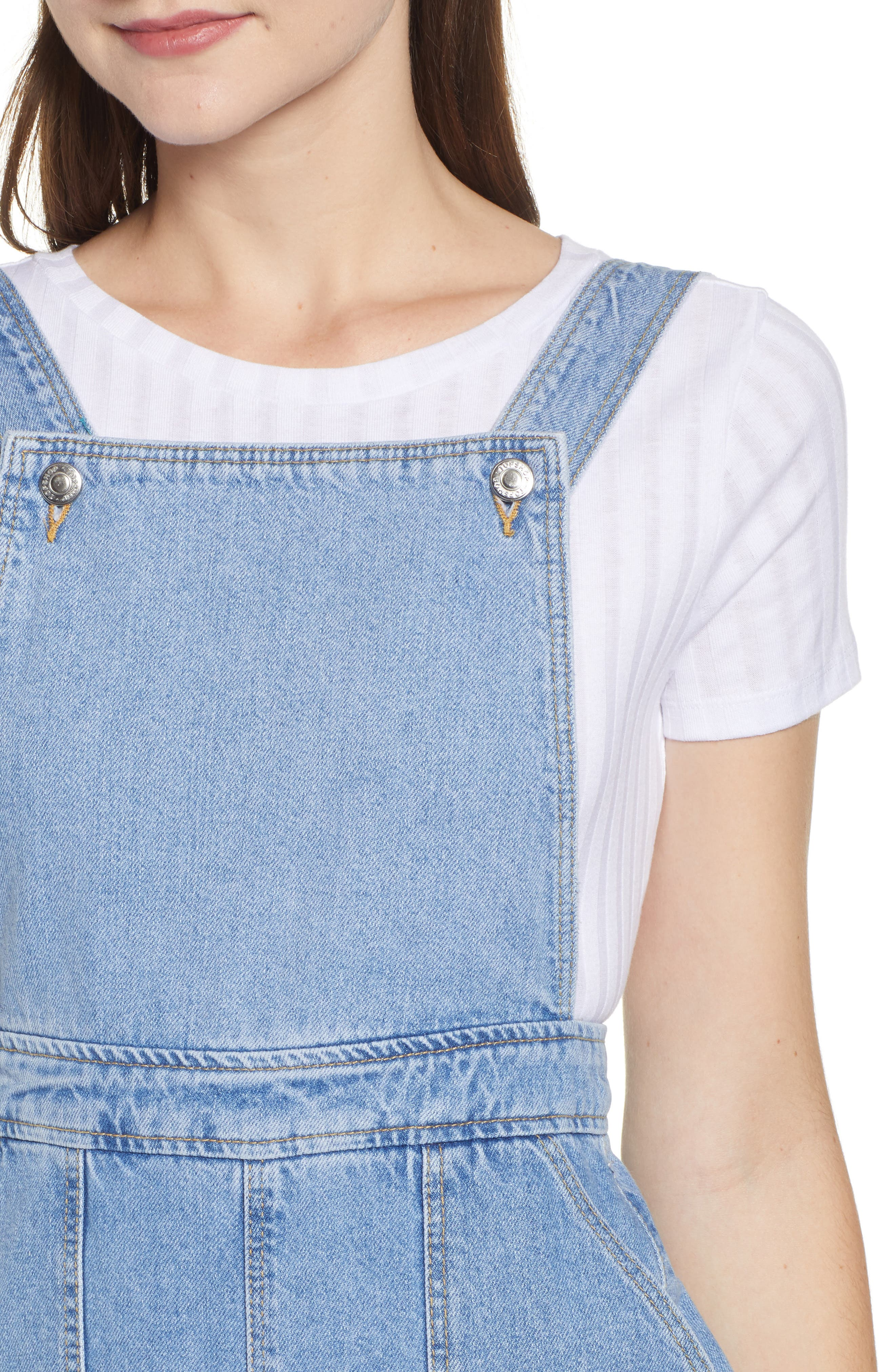 Wide Leg Crop Overalls,                             Alternate thumbnail 4, color,                             MID STONE