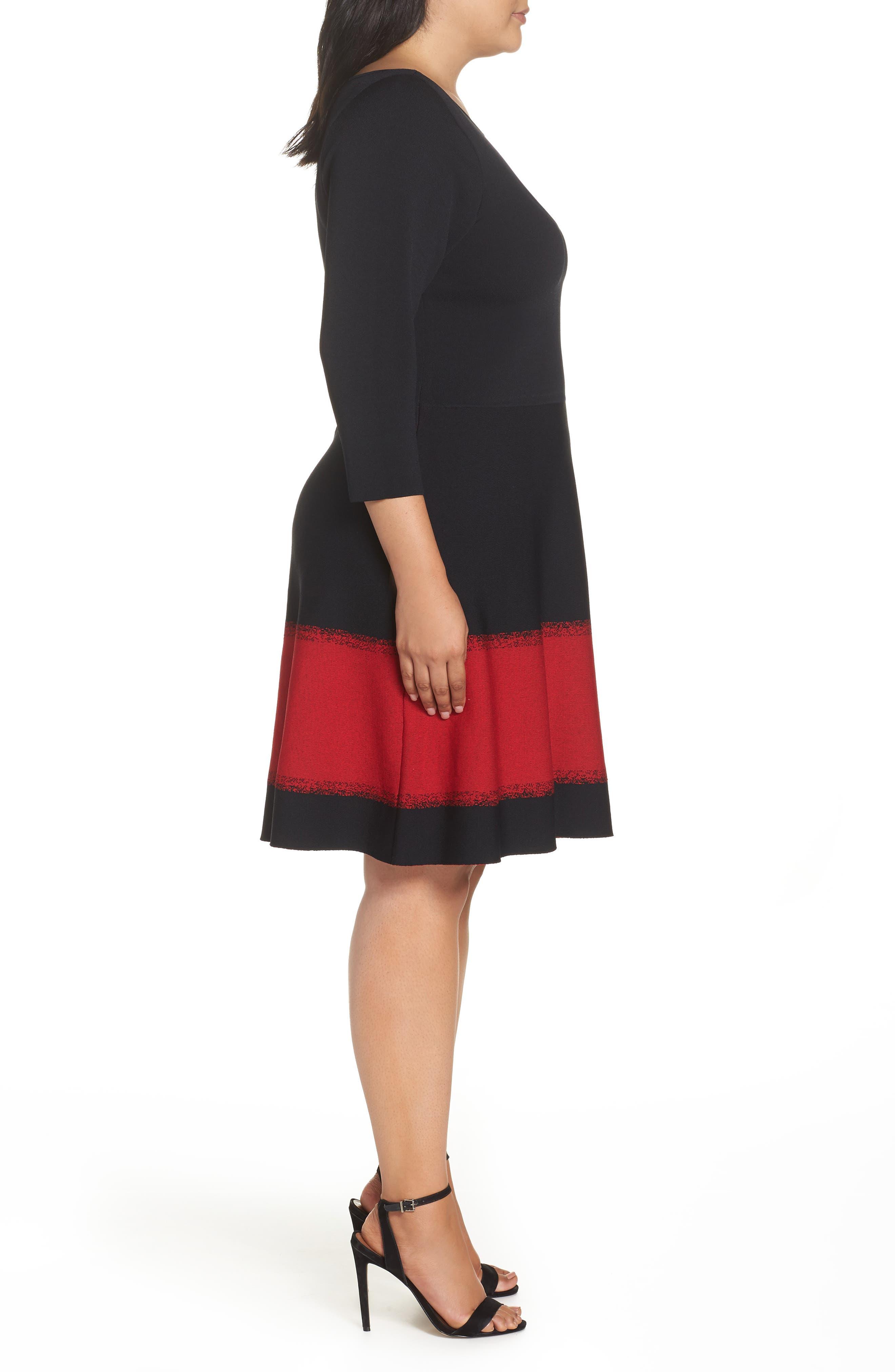 Contrast Stripe Fit & Flare Dress,                             Alternate thumbnail 3, color,                             BLACK