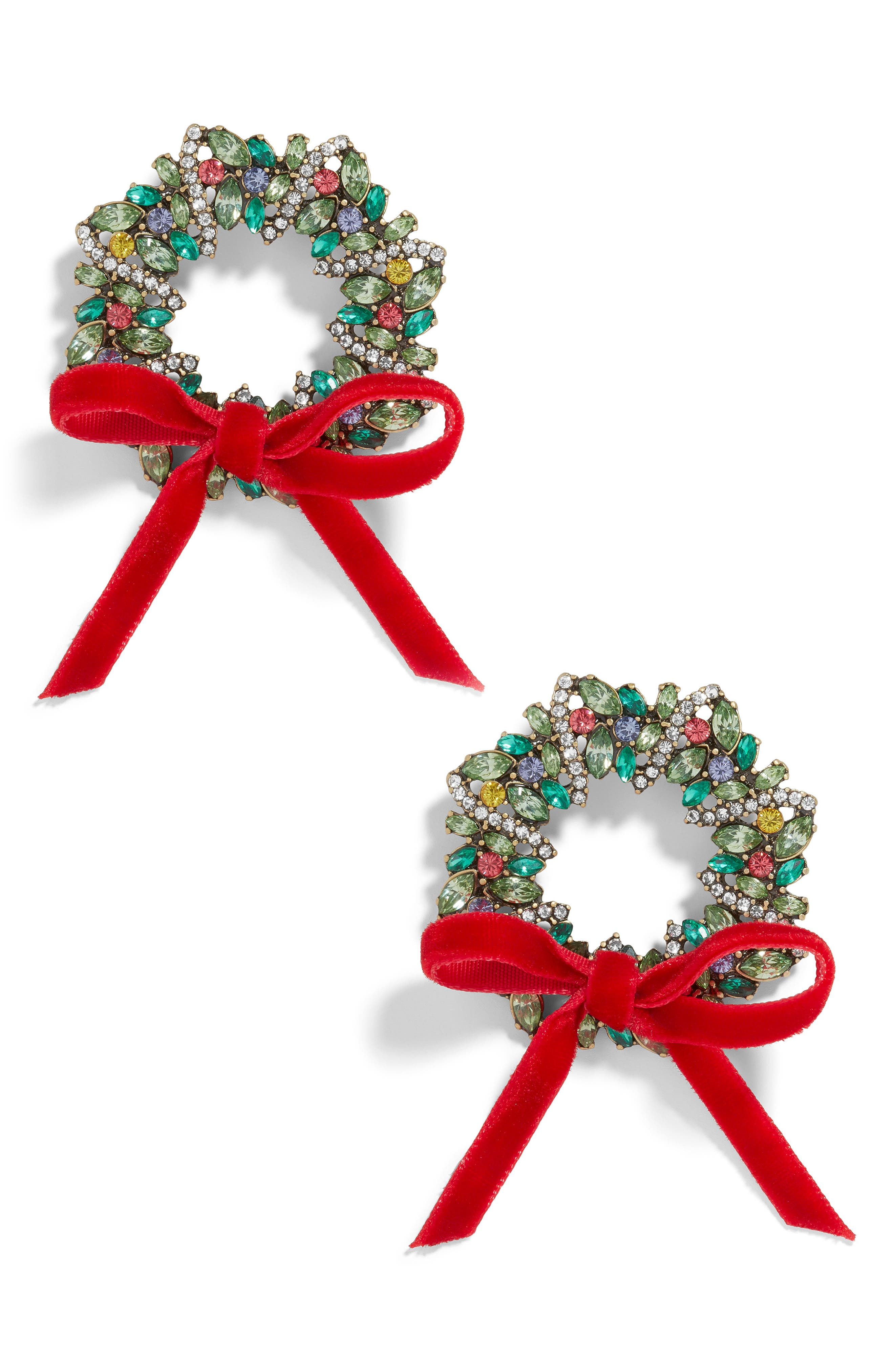 BAUBLEBAR,                             Crystal Holiday Wreath Earrings,                             Main thumbnail 1, color,                             300